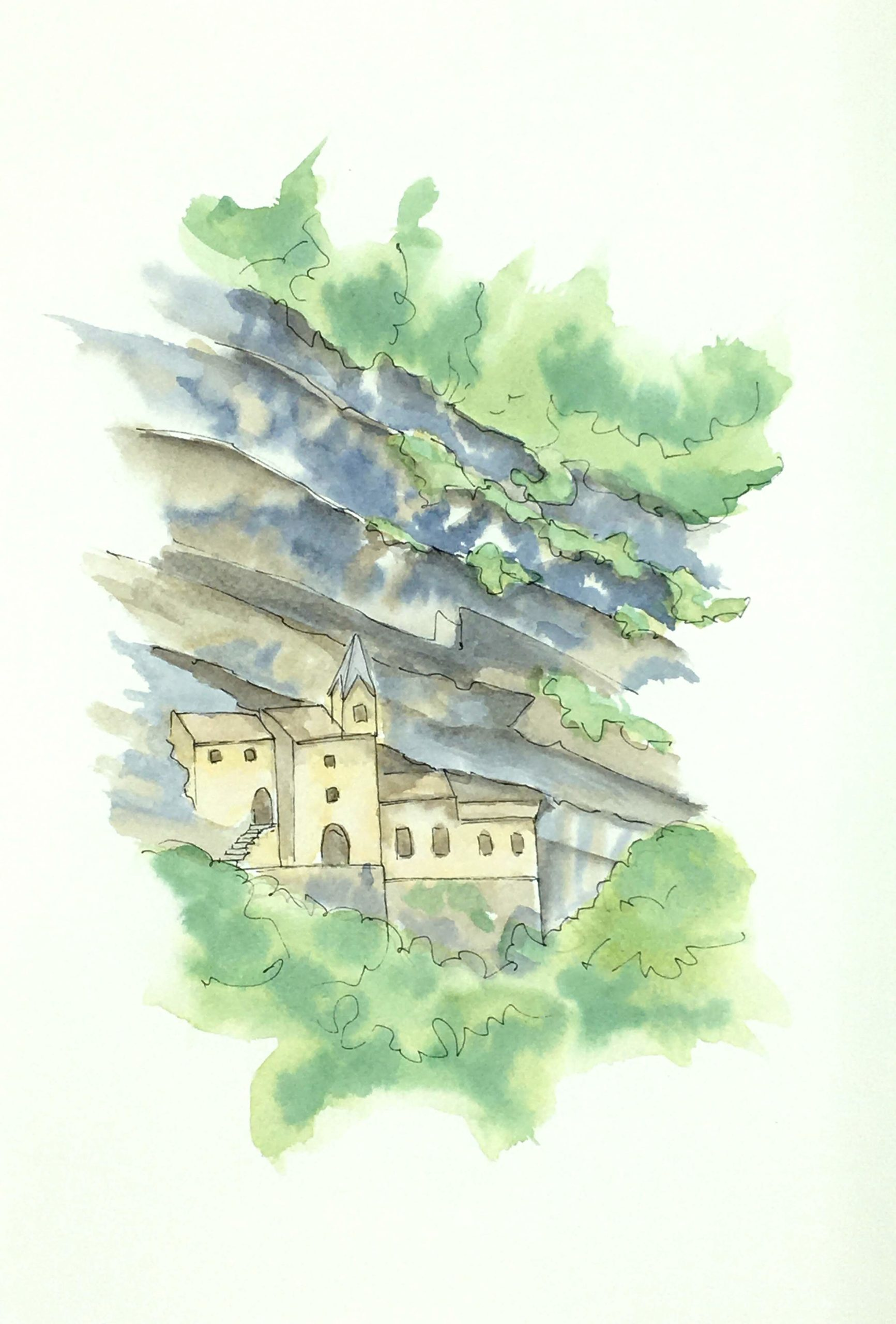 Painting of The Hermitage of San Colombano