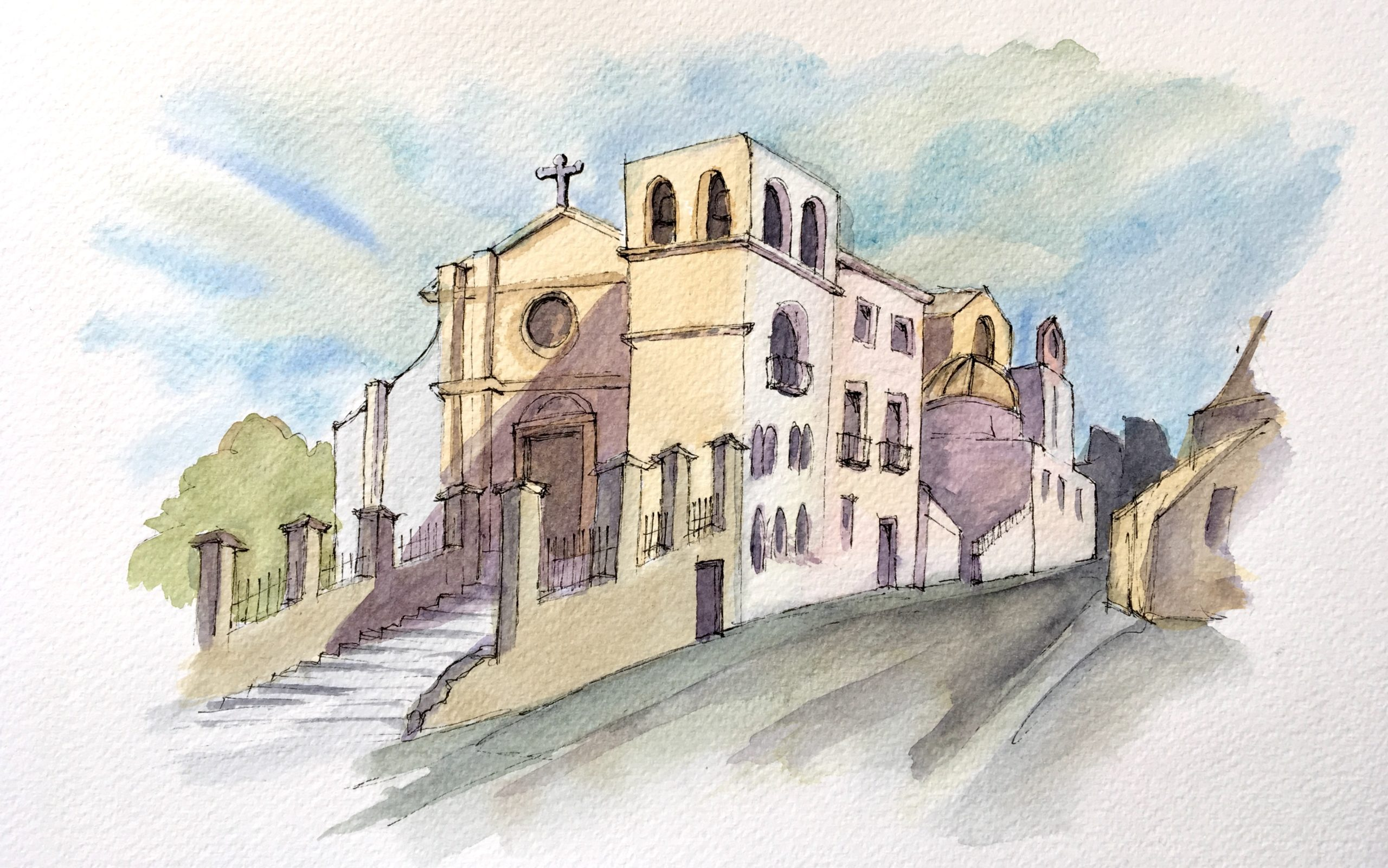 Painting of the Cathedral of Saint Gerland in Agrigento