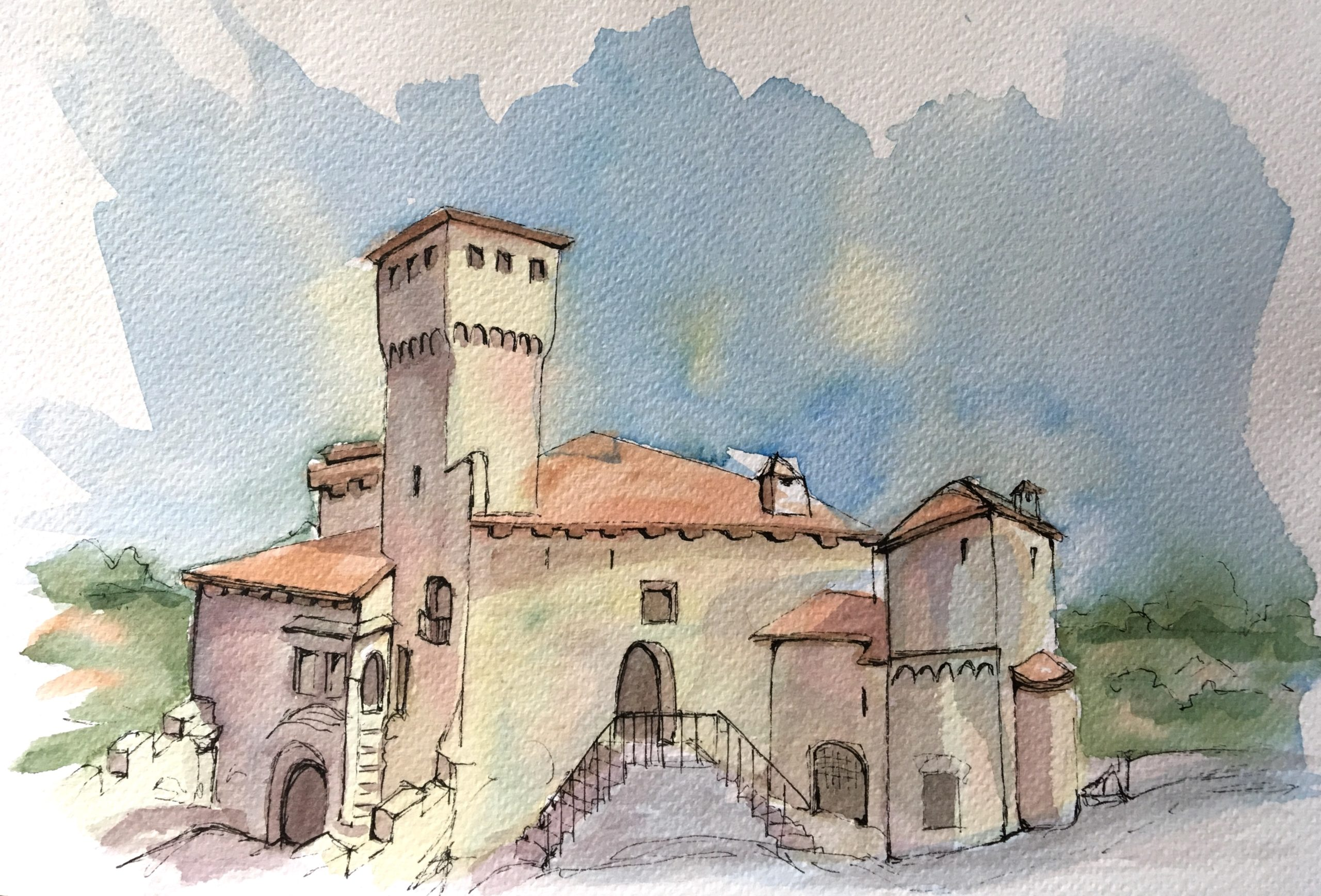 Painting of the medieval castle of Artegna