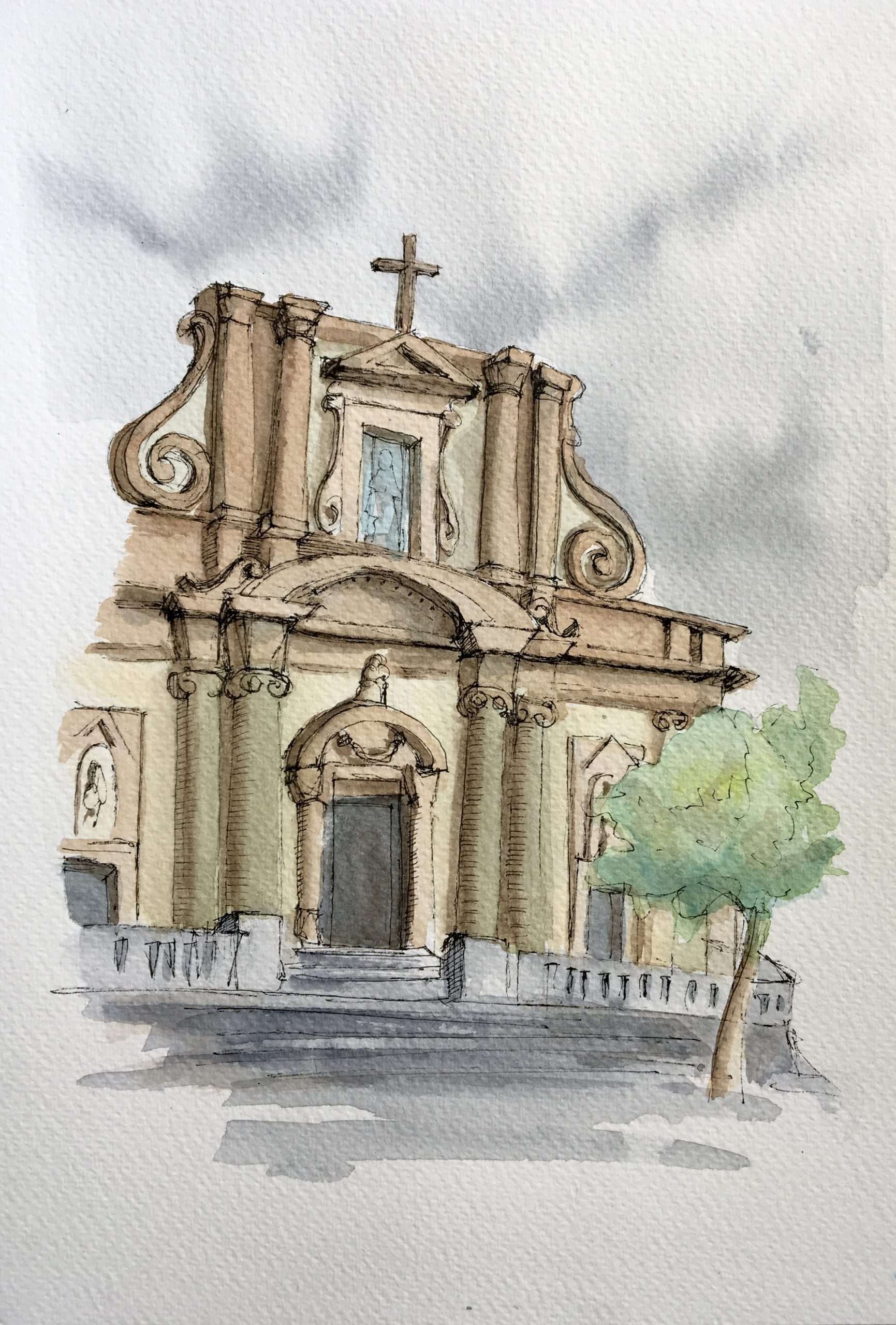 Painting of the Saint Mary Cathedral in Sciacca