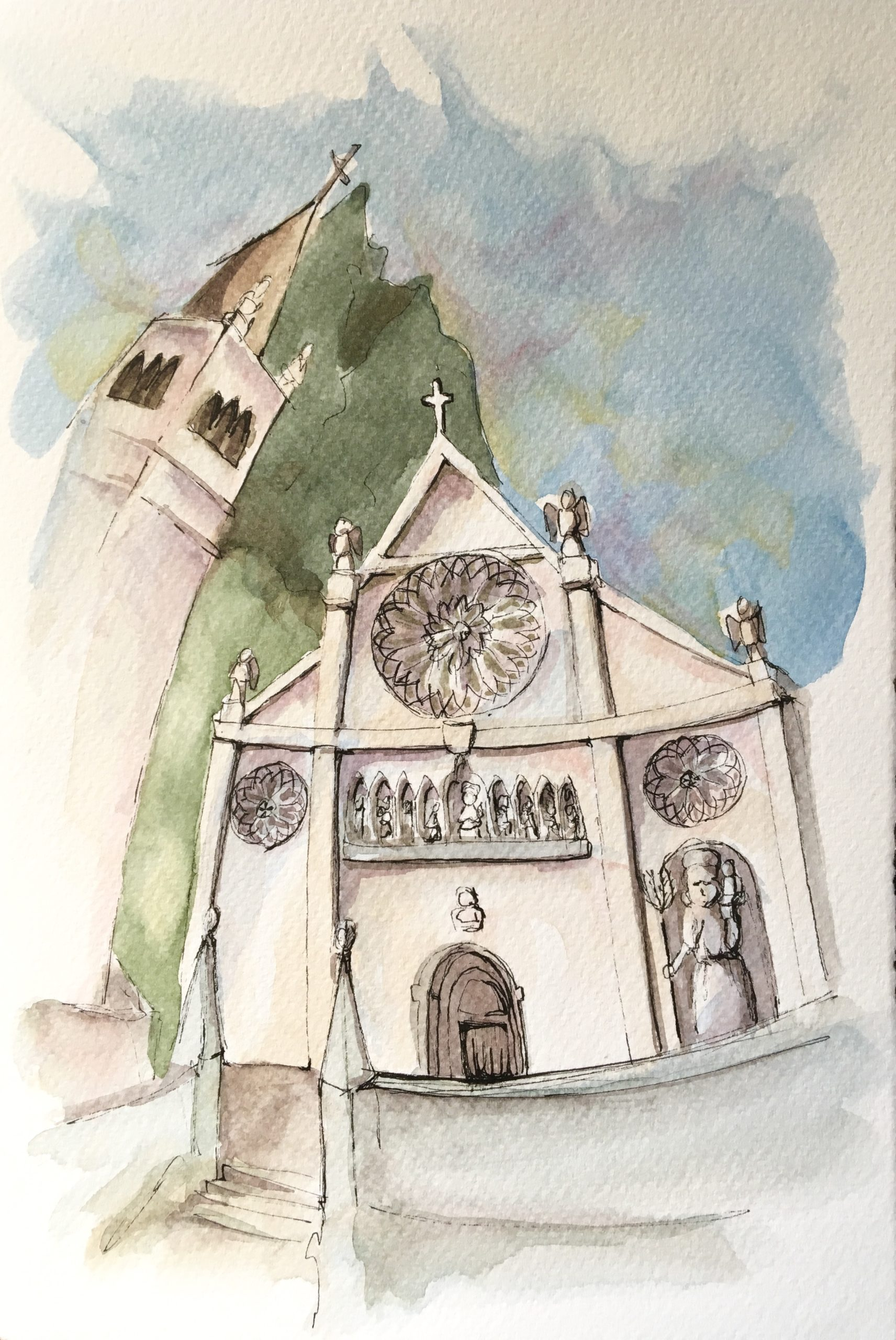 Painting of The Cathedral of Gemona del Friuli