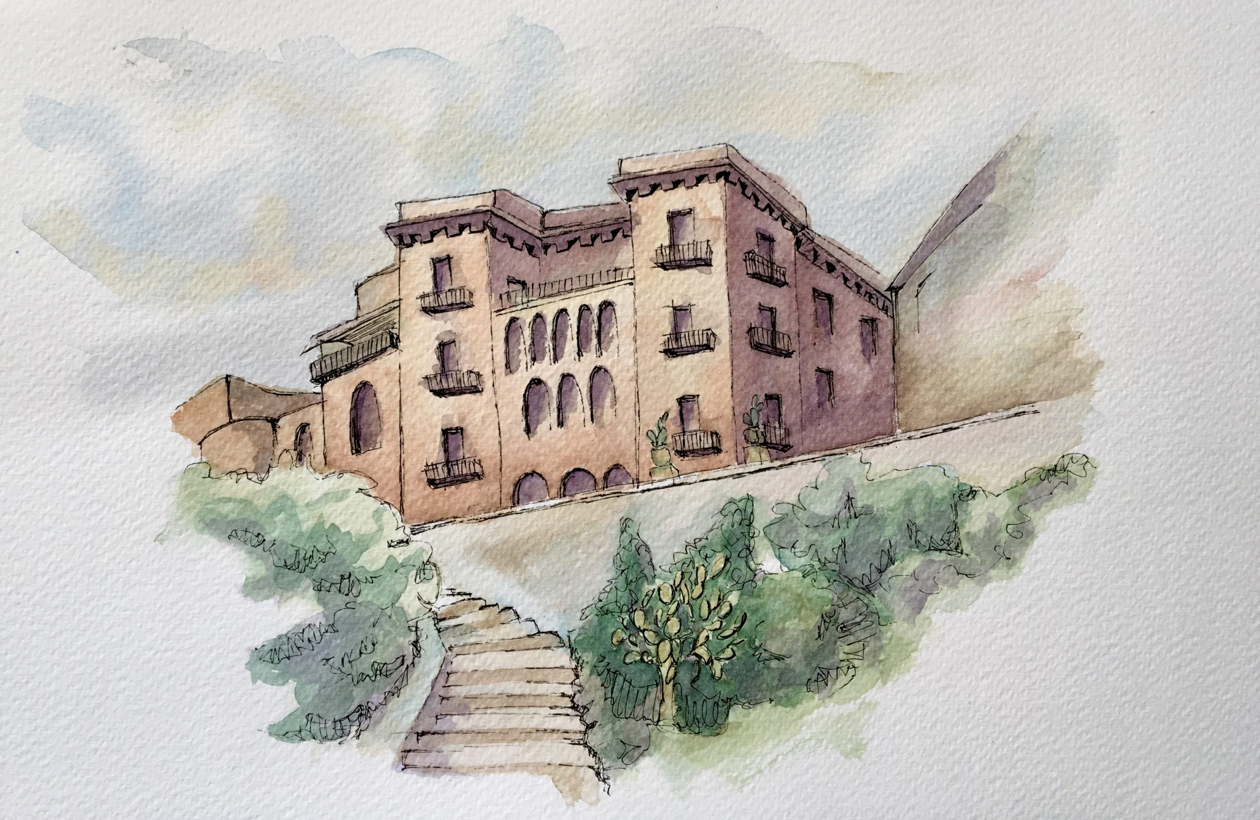 Painting of a view of Sciacca Historical Center