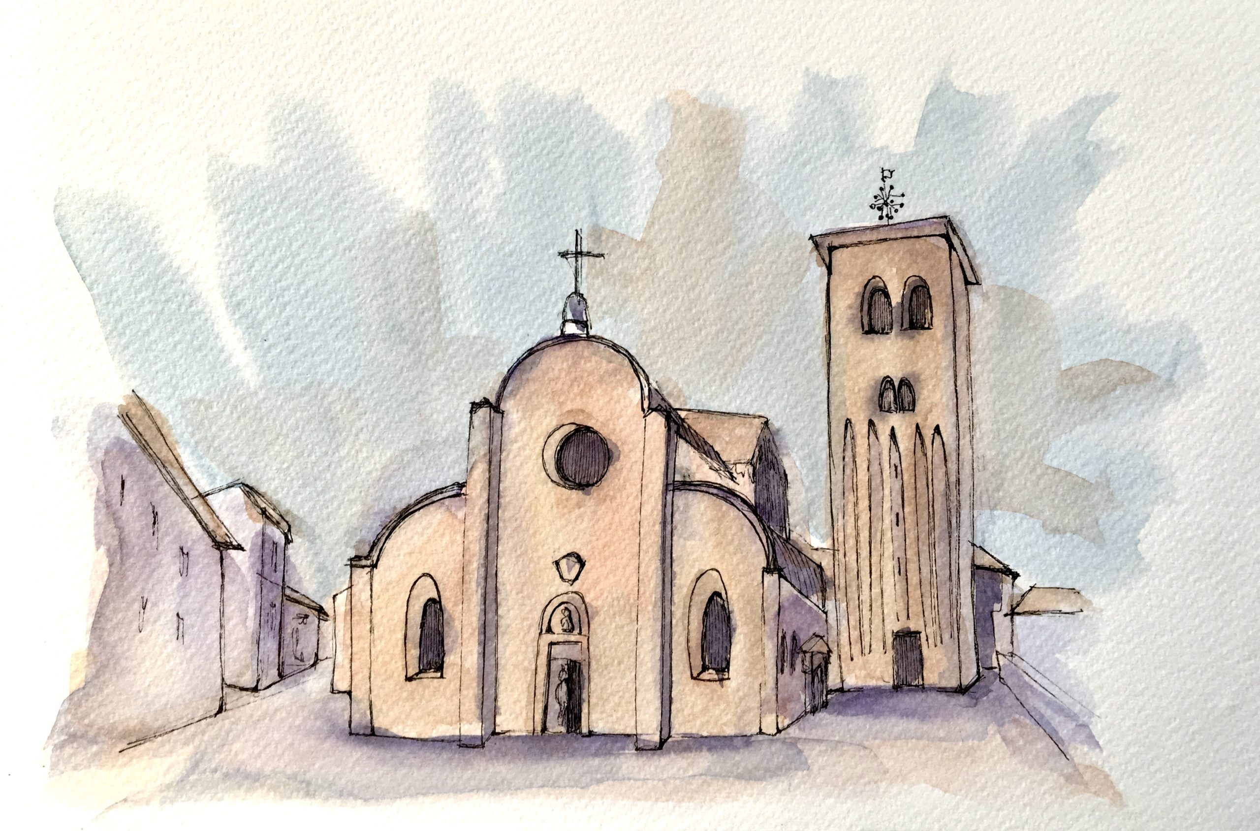 Painting of Cathedral of Santo Stefano in Concordia Sagittaria