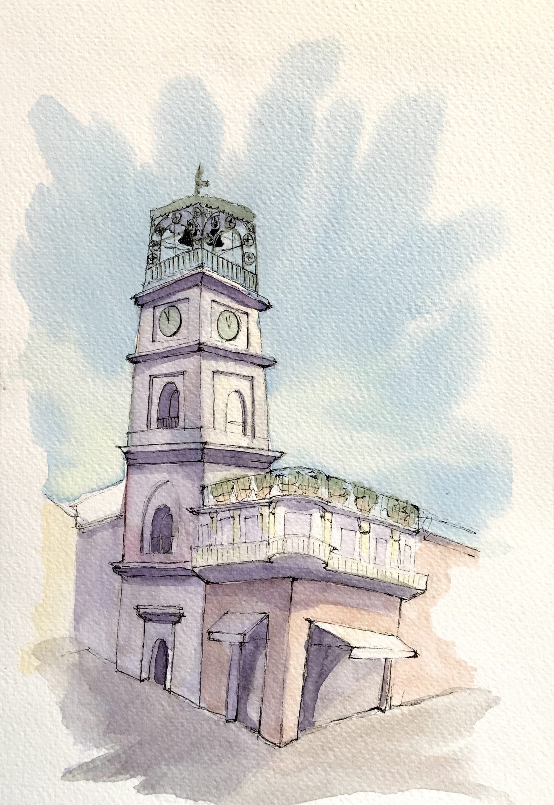 Painting of Bell Tower in San Gennaro Vesuviano