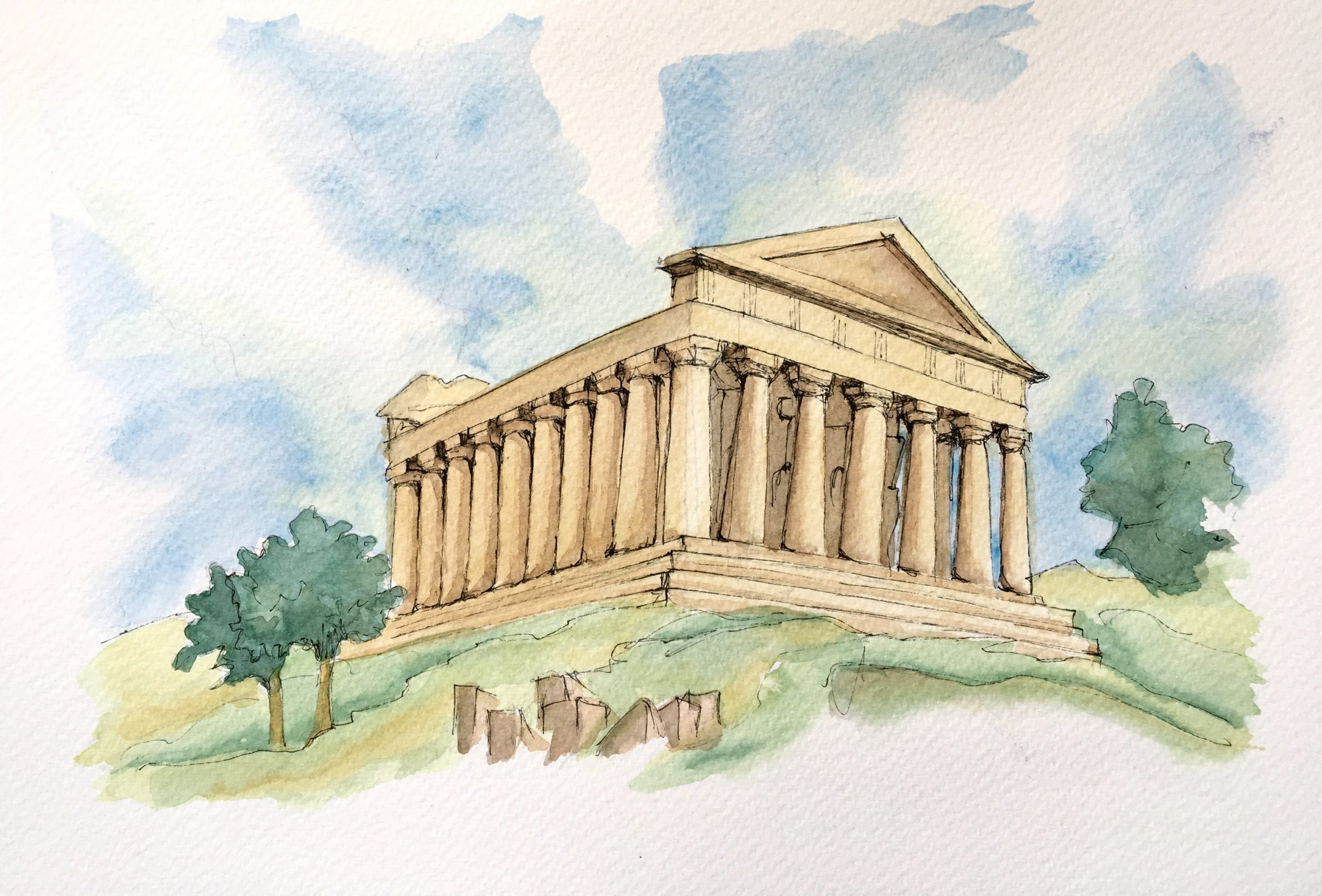 Painting of Valley of the Temples in Agrigento