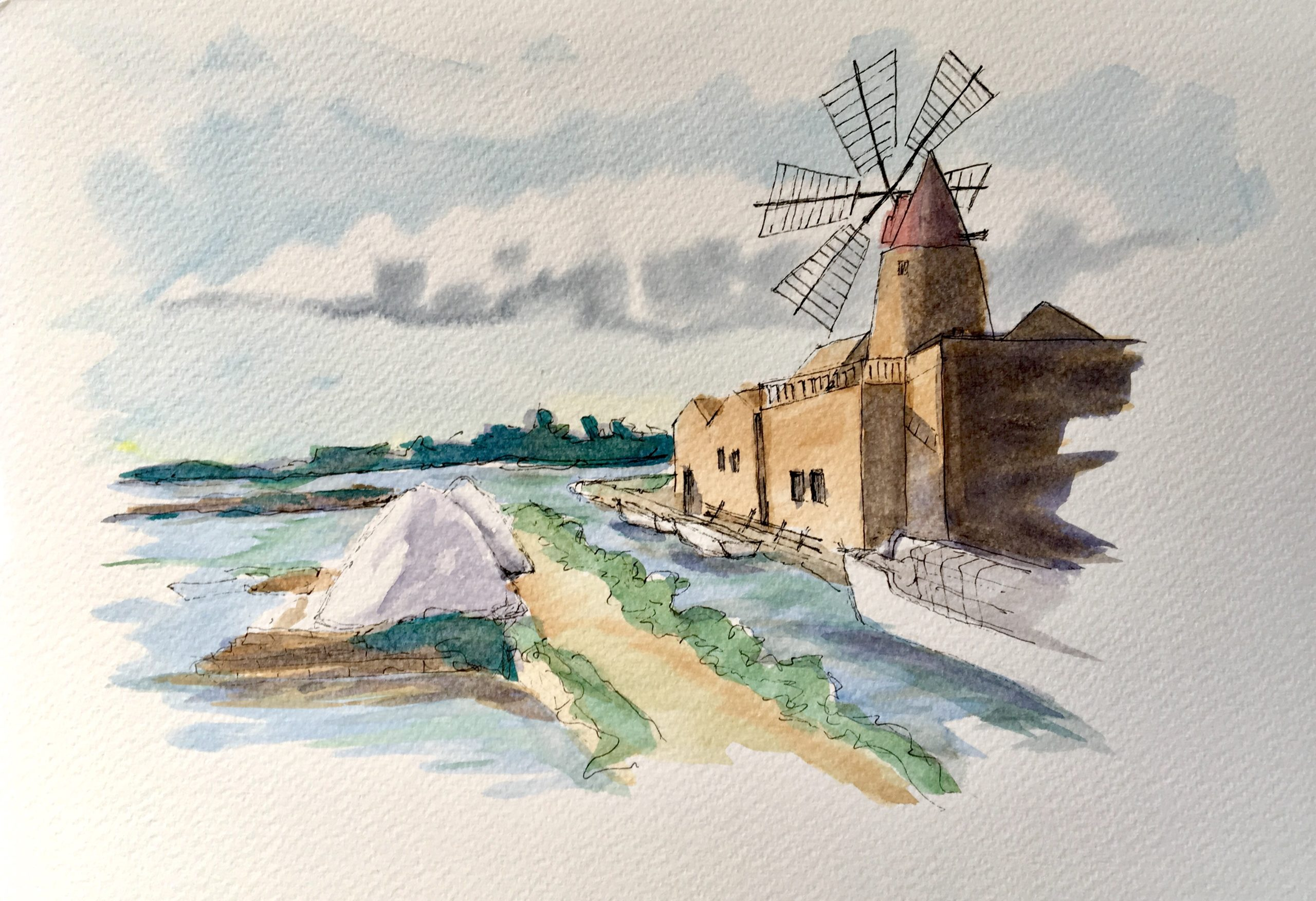 Painting of the Salt Flats of Marsala in Sicily