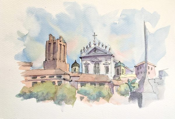 Painting of the Roman hills and churches