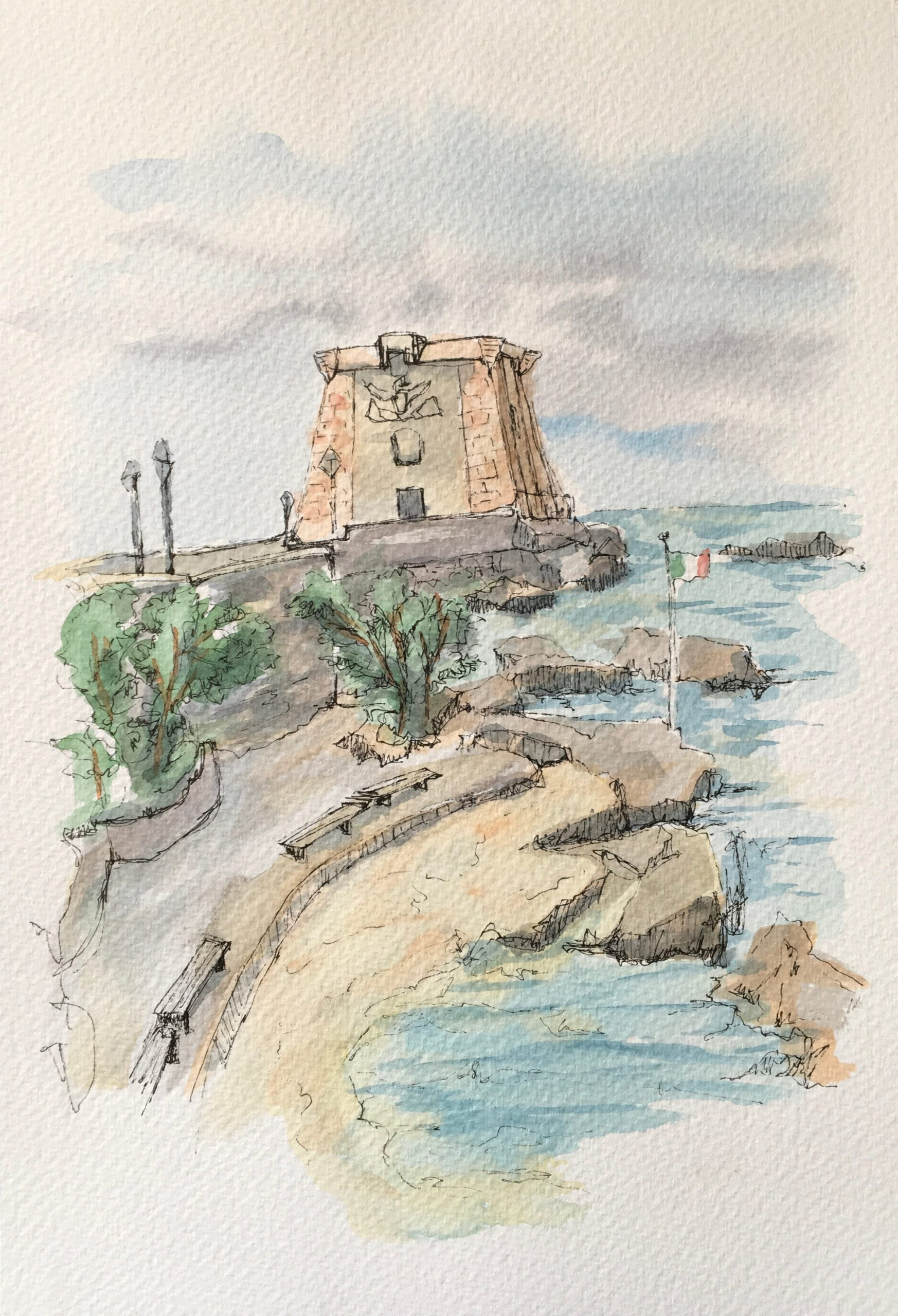 Painting of the Ligny Tower of Trapani