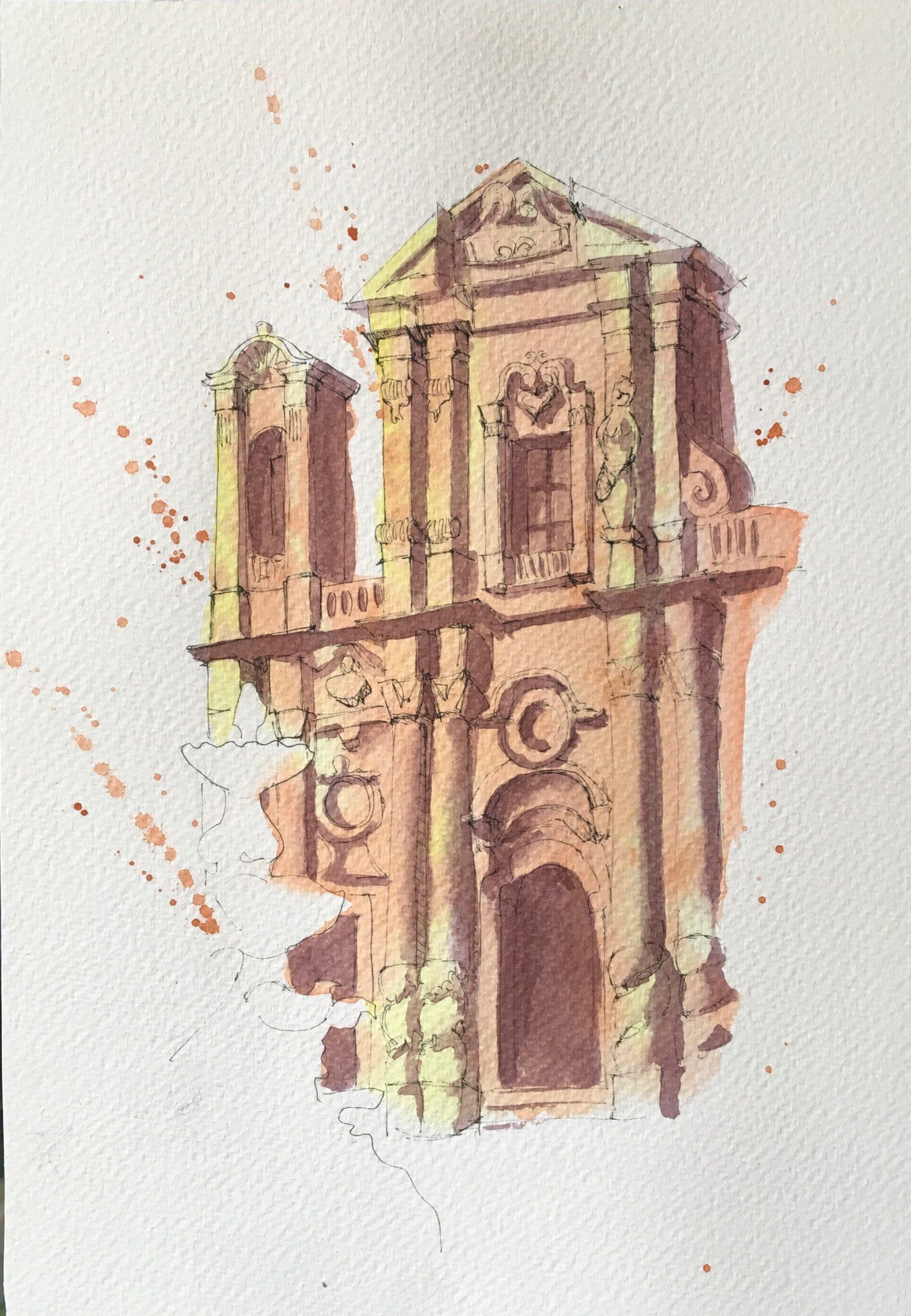 Painting of Church of Purgatory in Marsala