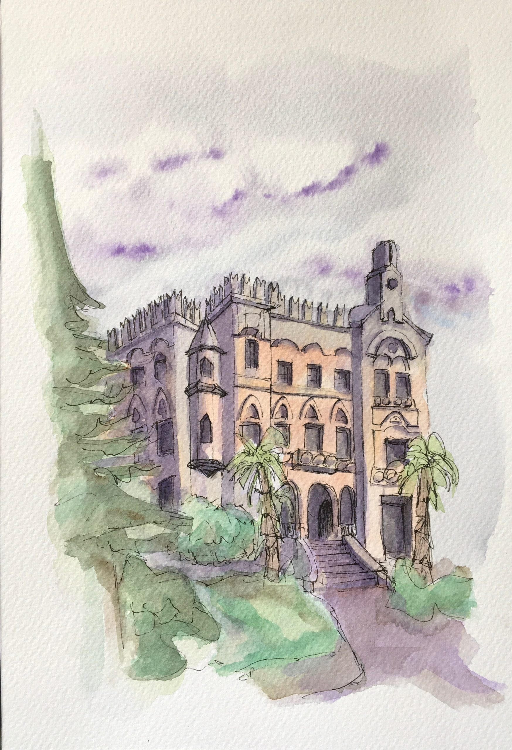 Painting of Florio Palace in Favignana