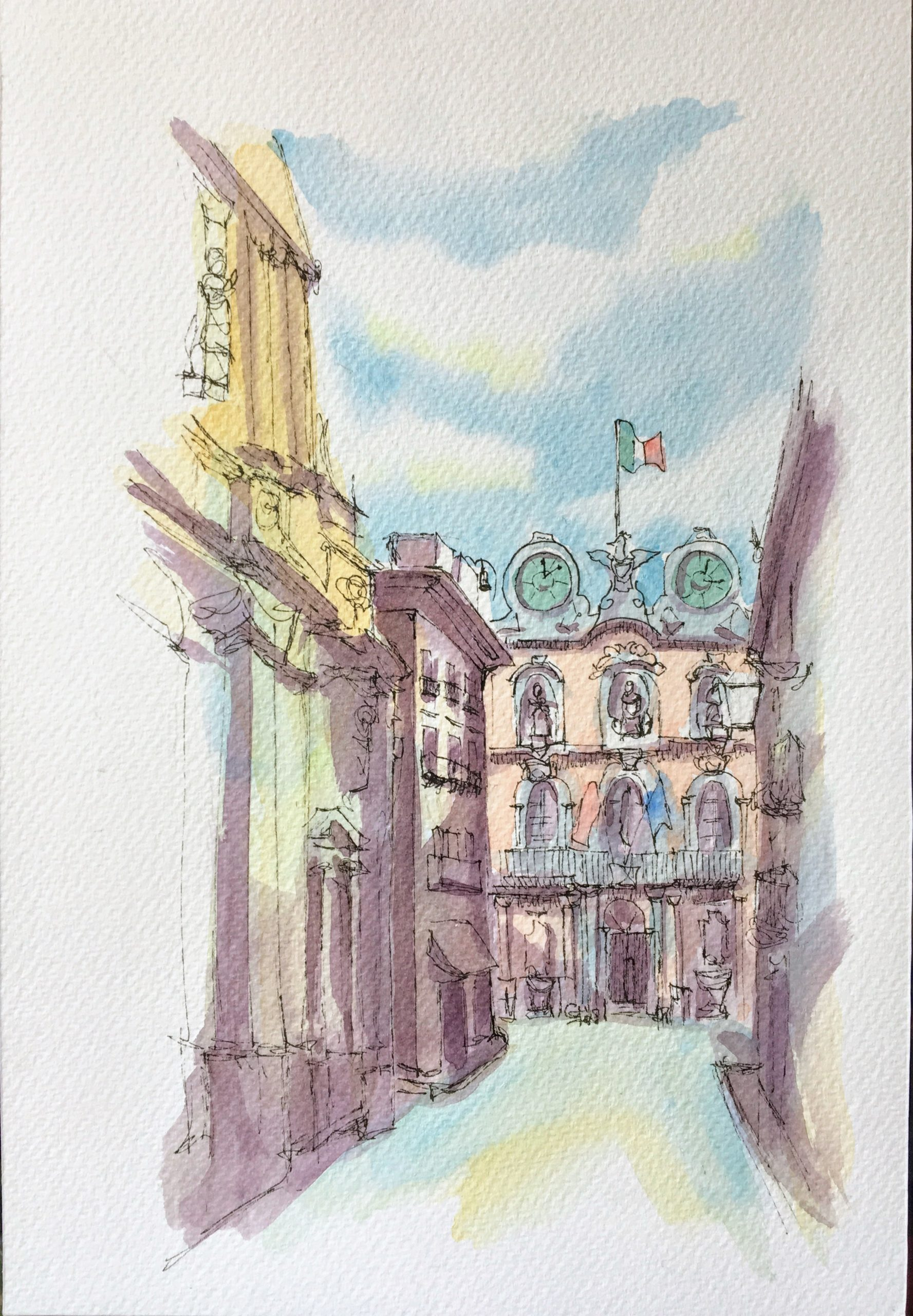 Painting of Trapani view of Corso Vittorio Emanuele
