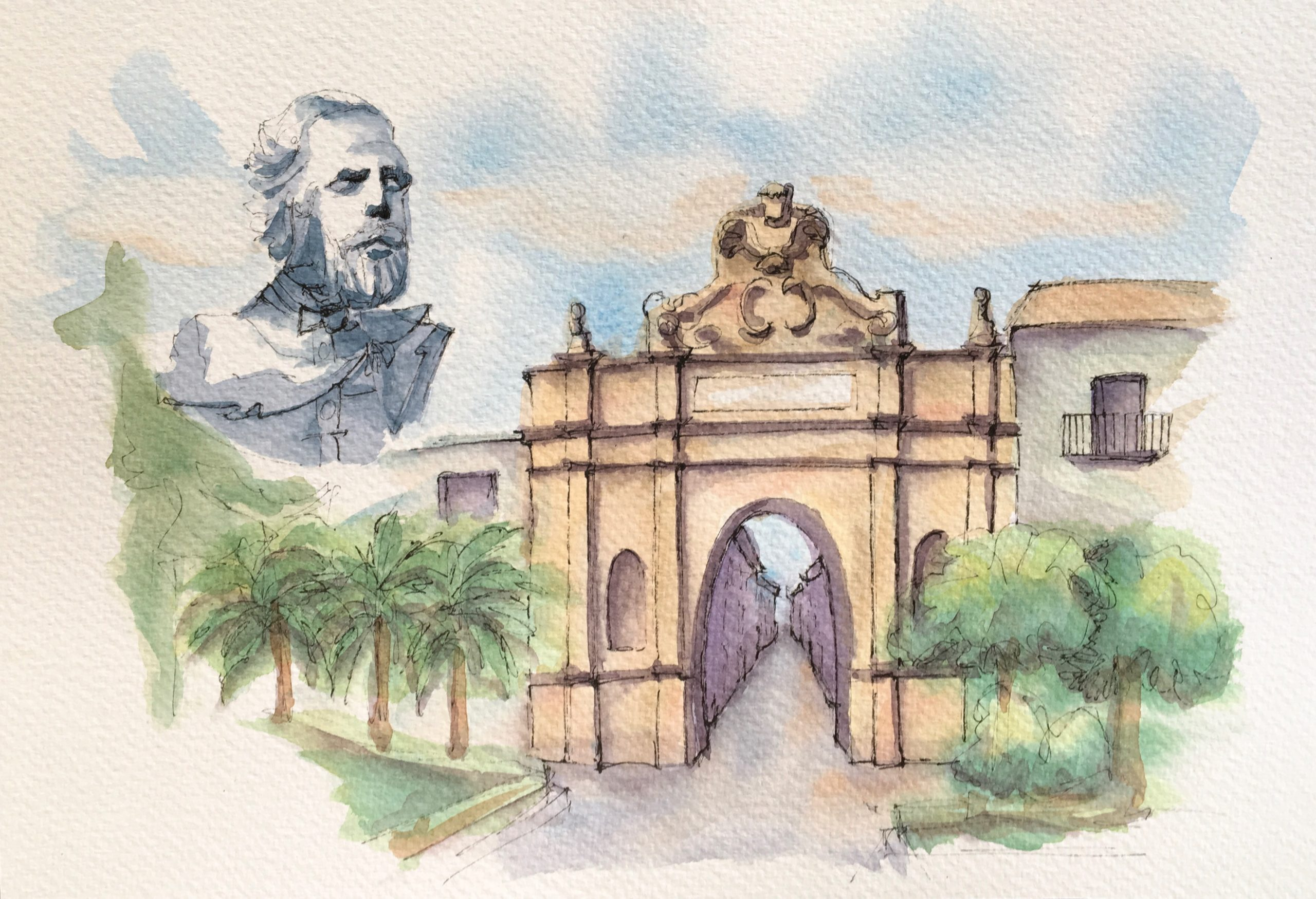 Painting of Marsala Porta Nuova: The Home of Garibaldi