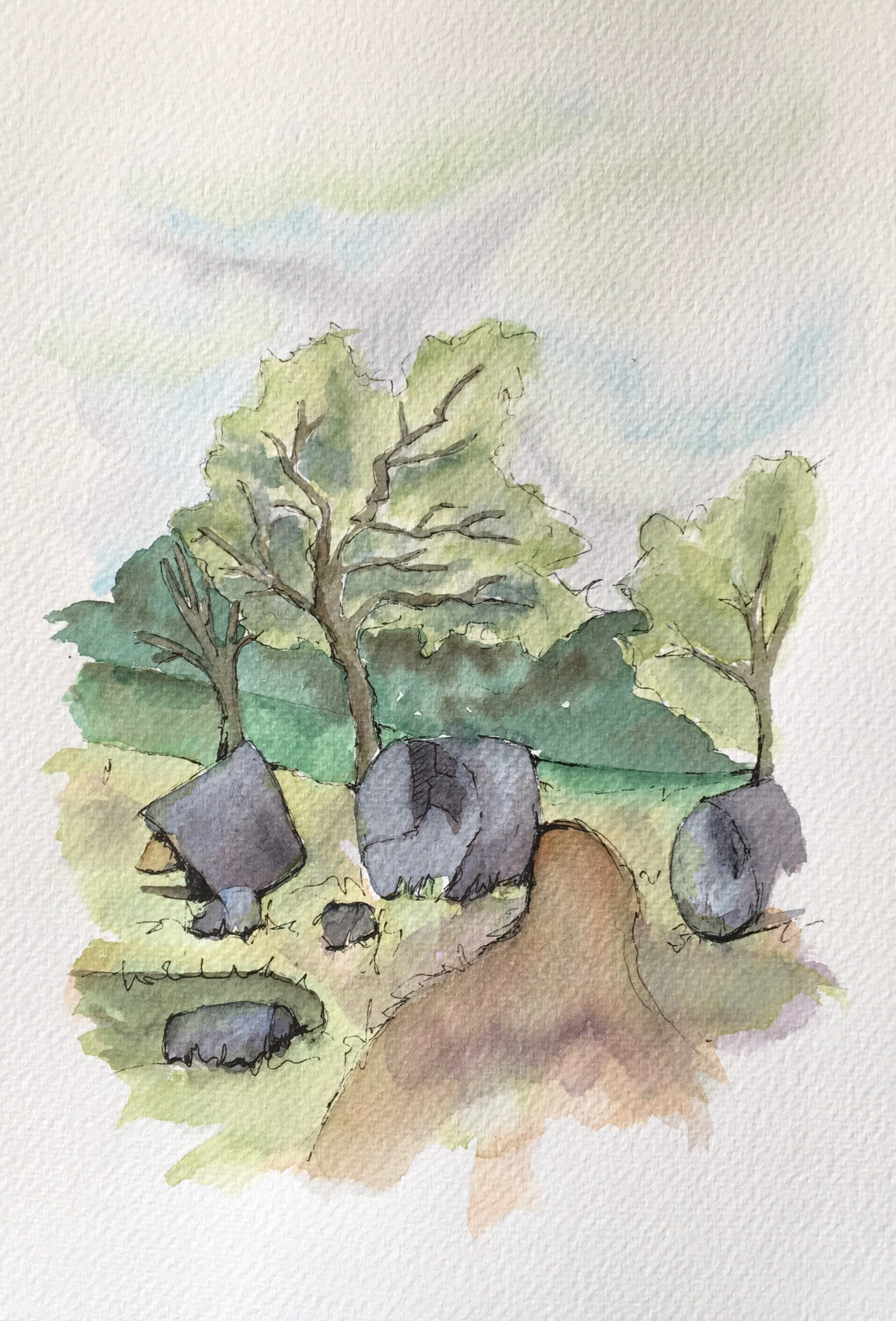 Painting of the Cusa Caves near Selinunte