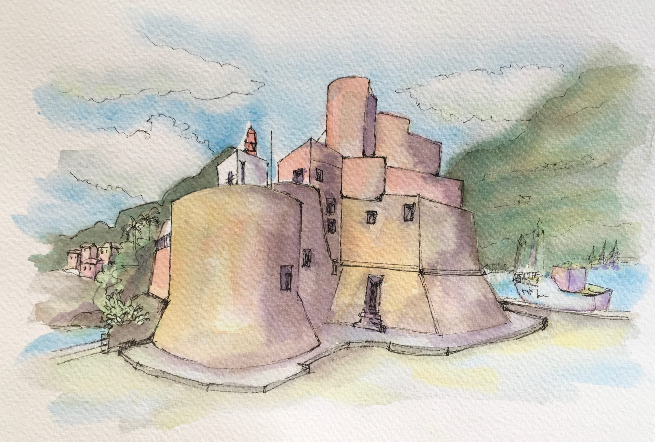 Painting of the Castle of Castellammare del Golfo