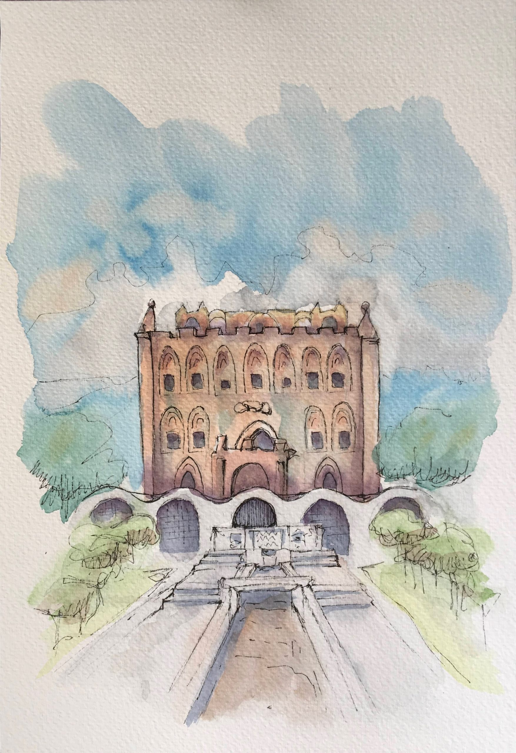 Painting of the Zisa Castle in Palermo