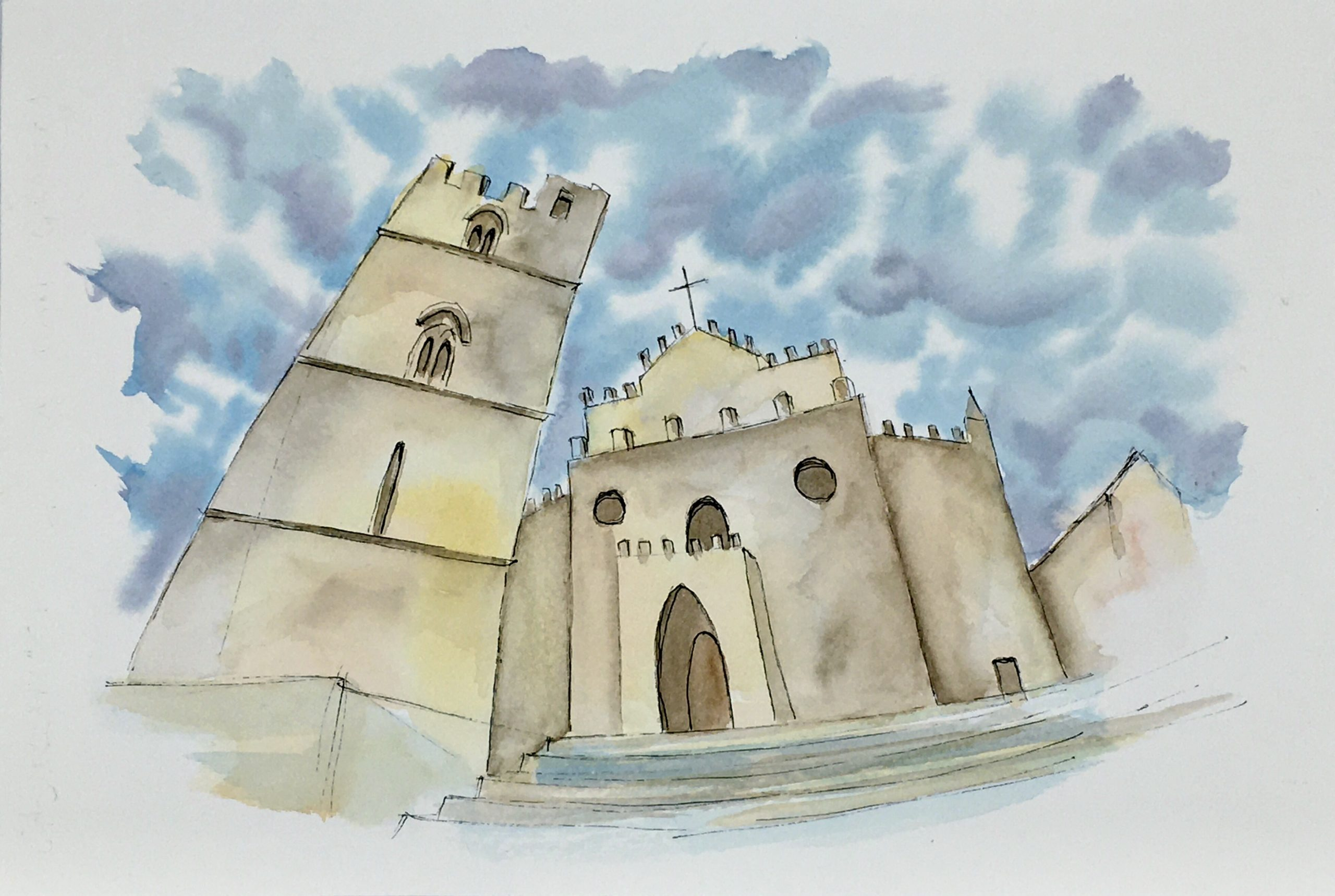 Painting of the gothic cathedral of Erice