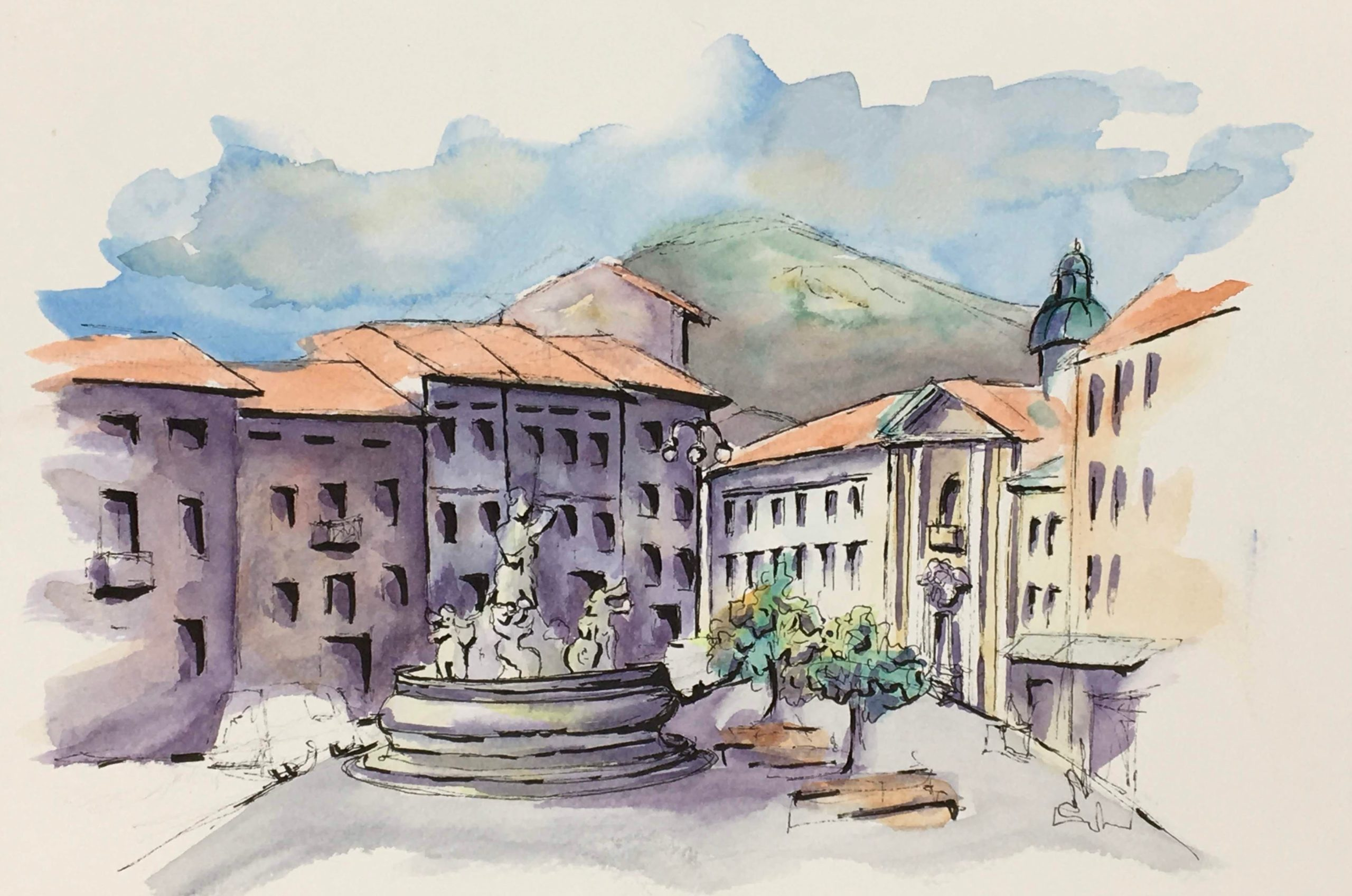 Painting of the Neptune Fountain in Gorizia