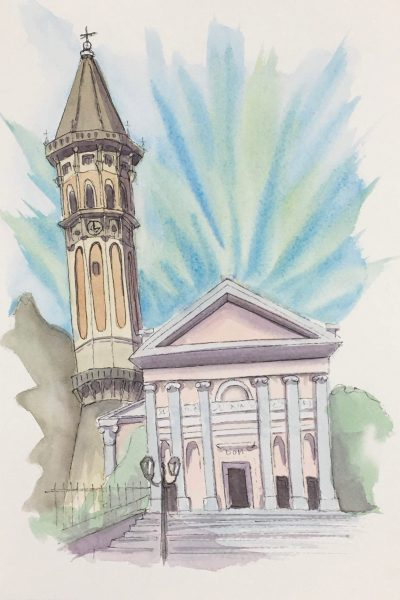 Painting of The Cathedral of San Nicola in Lecco
