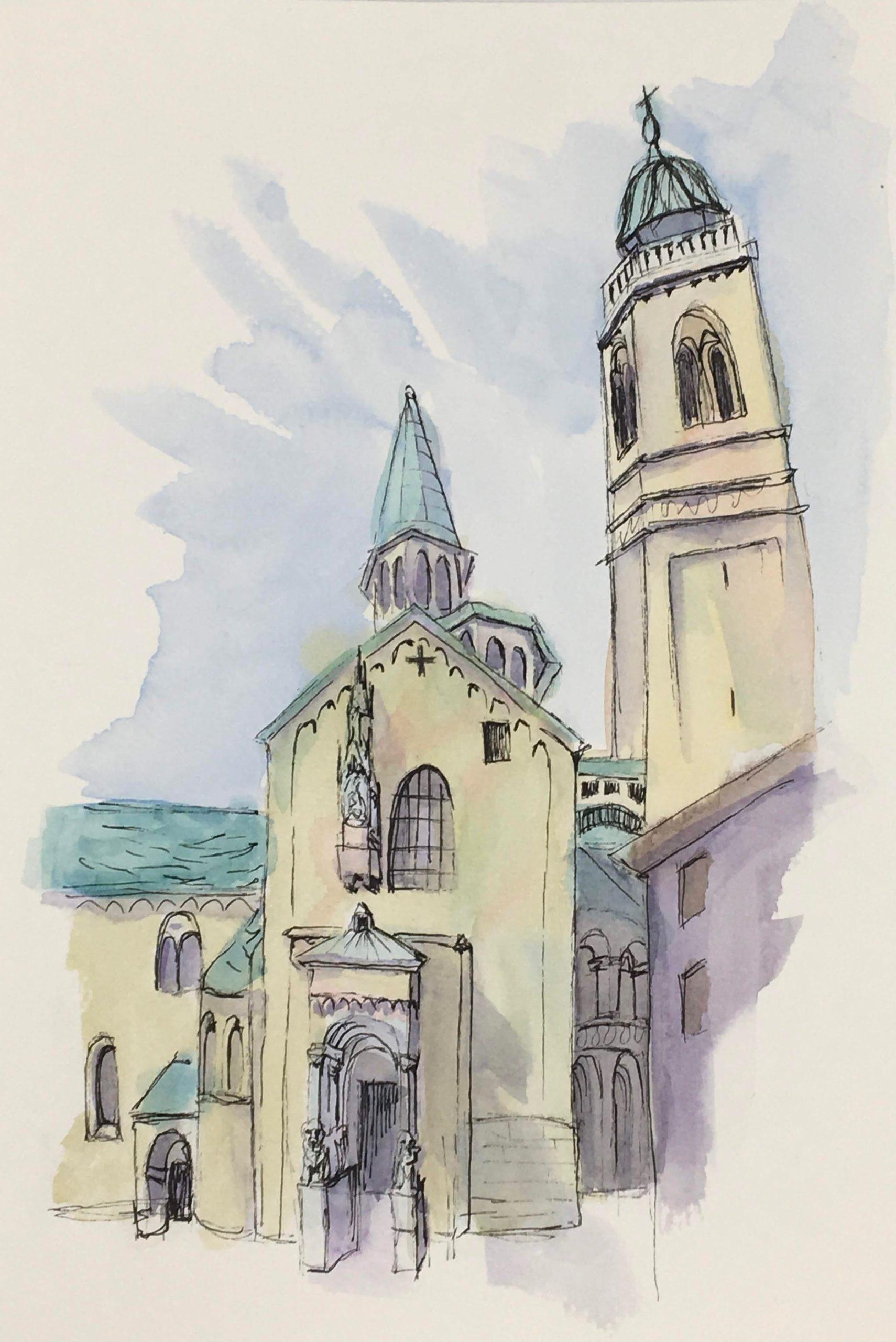 Painting of the Church of Santa Annunziata in Bergamo