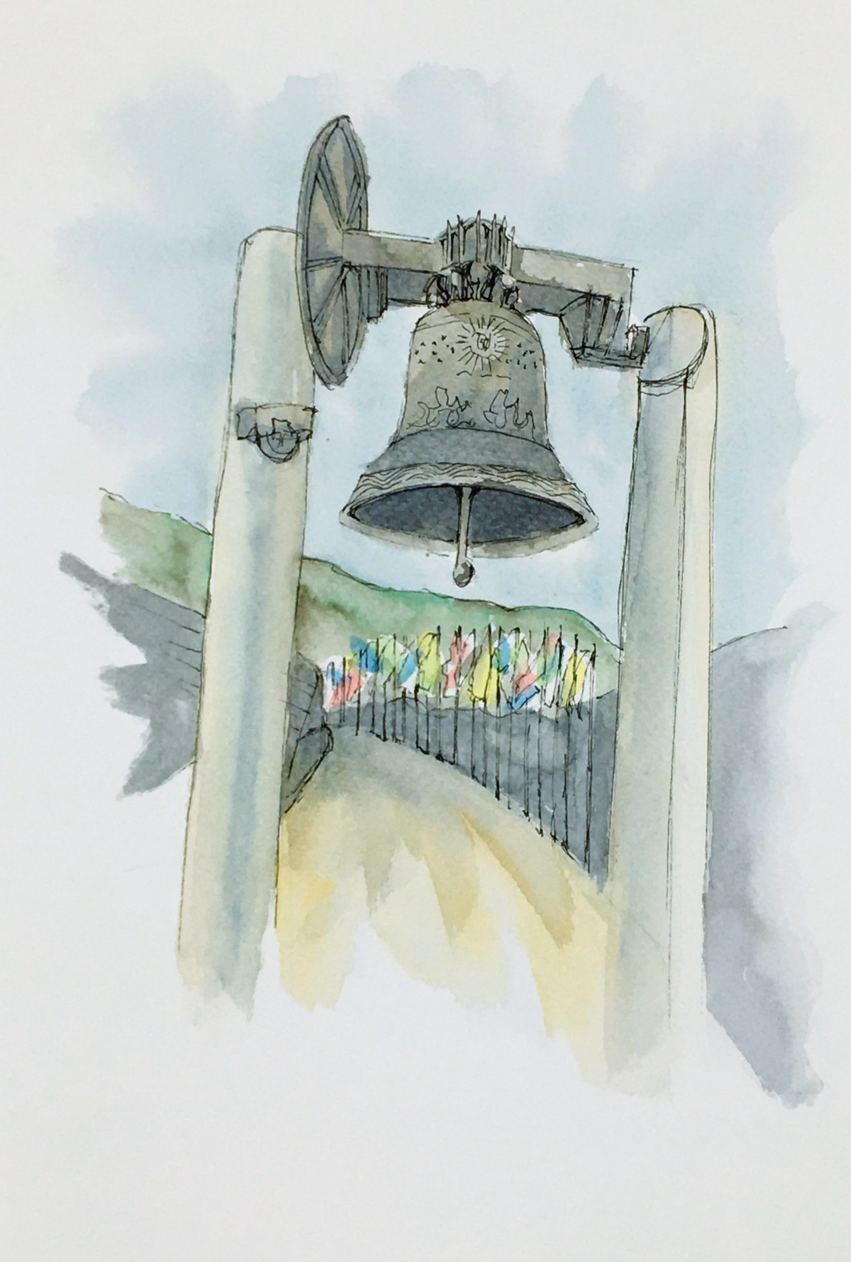 Painting of the Bell of Peace in Rovereto