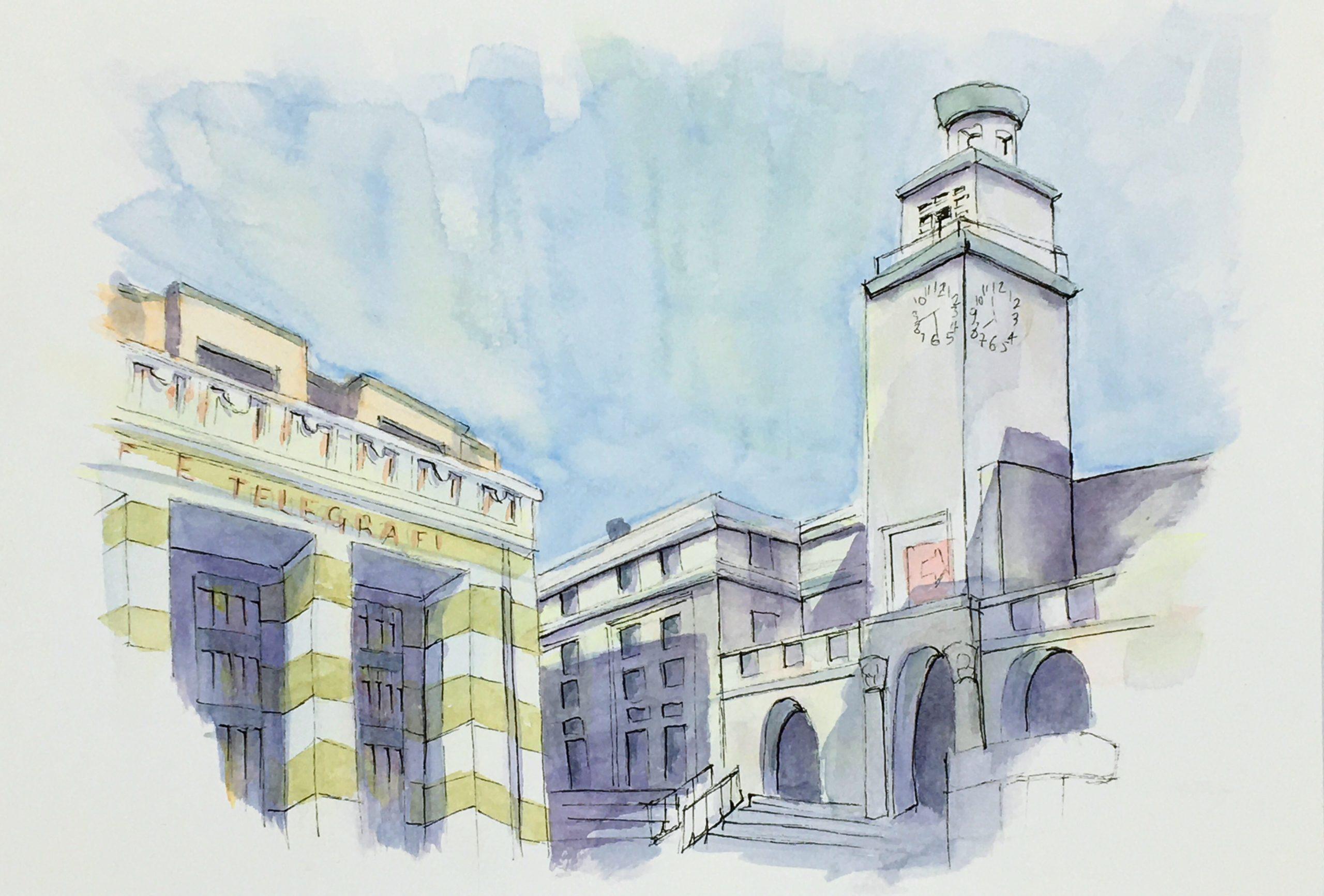 Painting of Piazza della Vittoria in Brescia