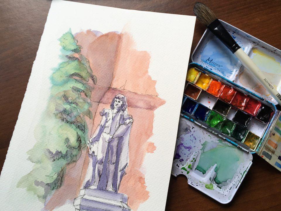 """Statue of the painter """"Il Giorgione"""""""