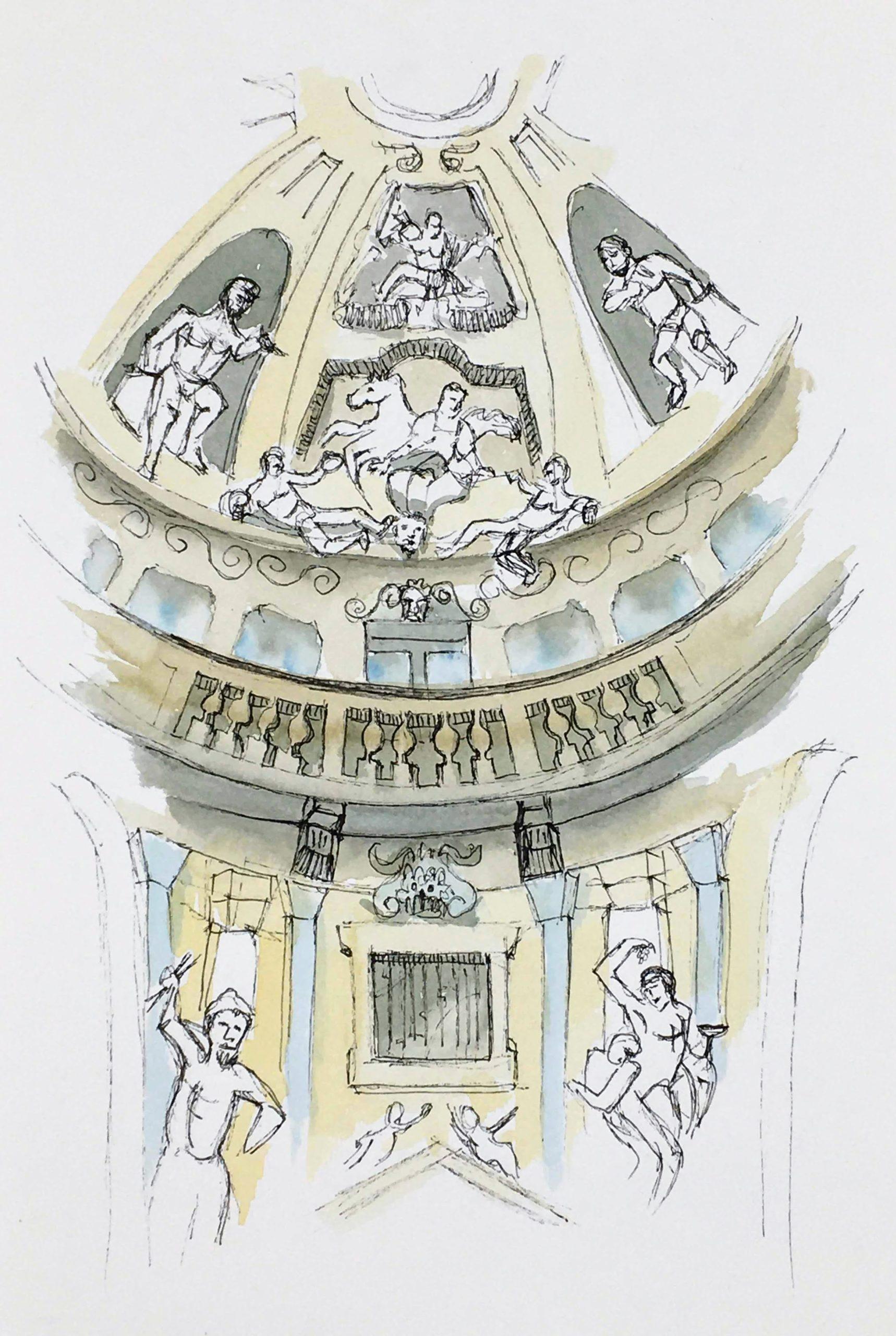 Painting of the Interiors of Villa La Rotonda