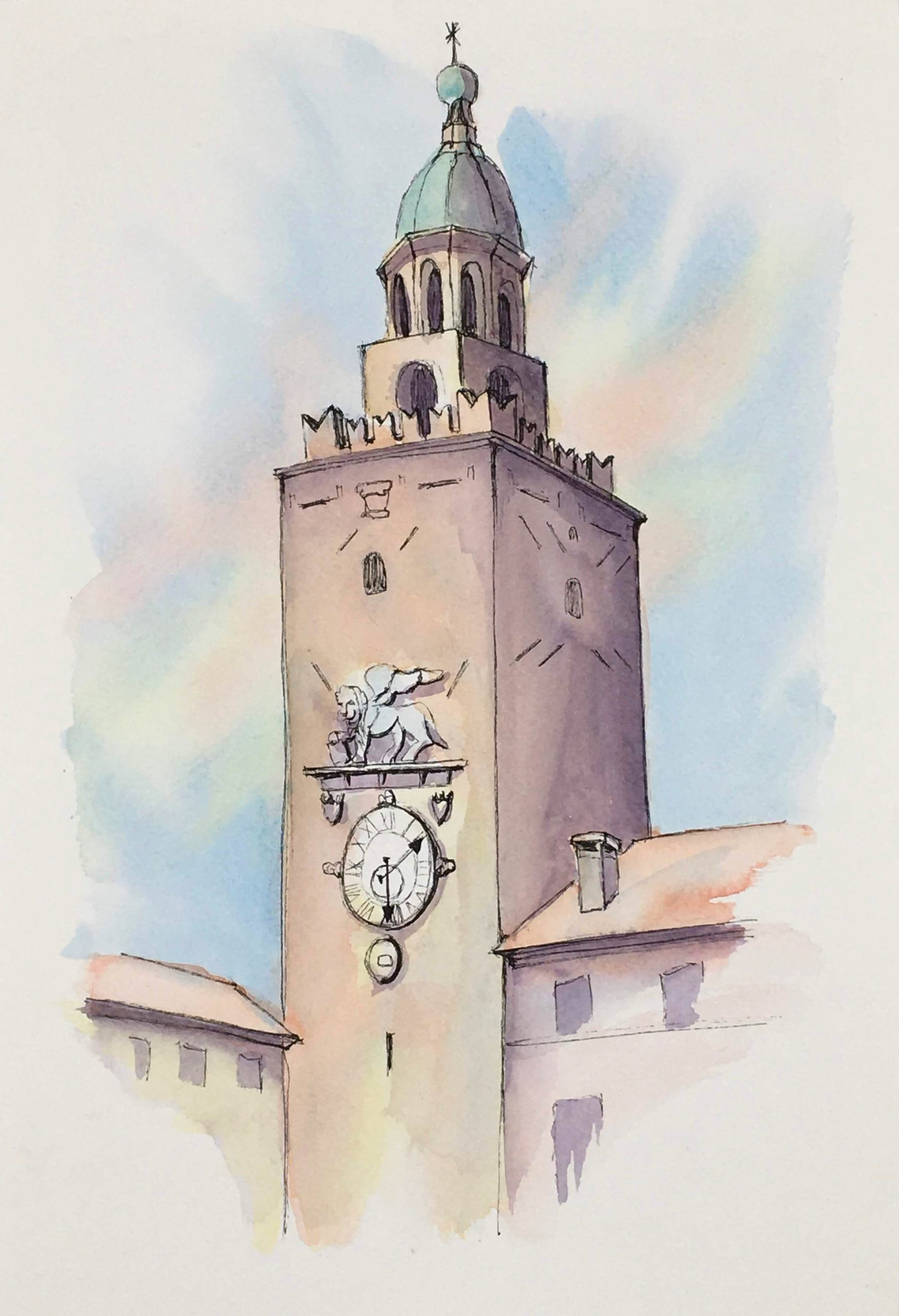 Painting of the Castle Tower at Castelfranco Veneto