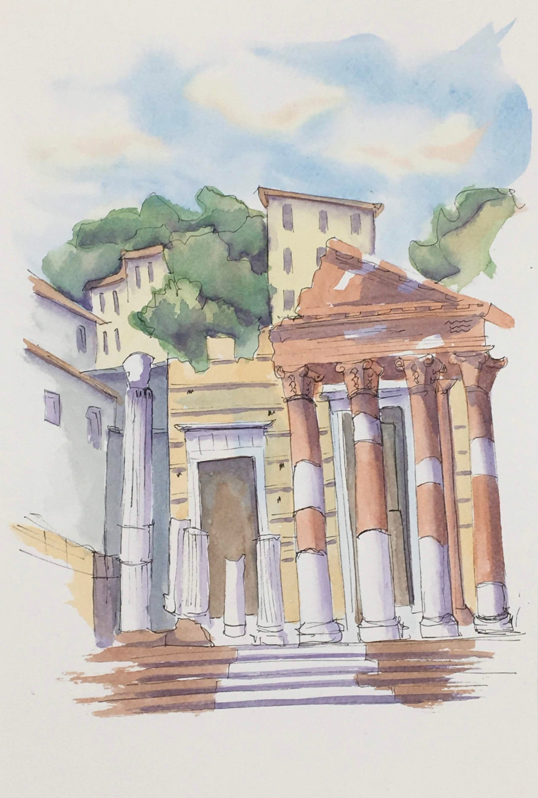 Painting of the Archeological Park of Brescia
