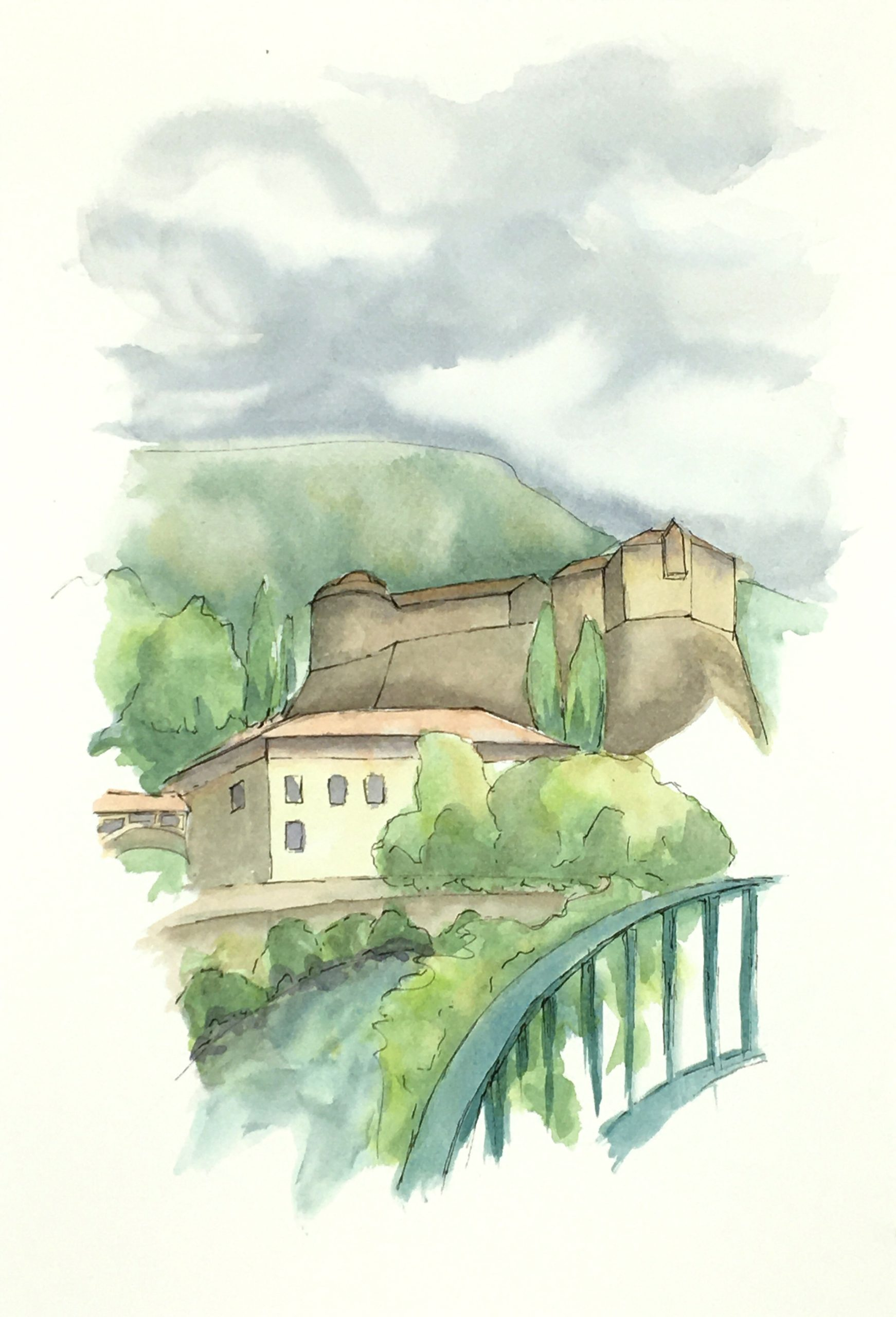 Painting of the The Magnificent Castle of Rovereto