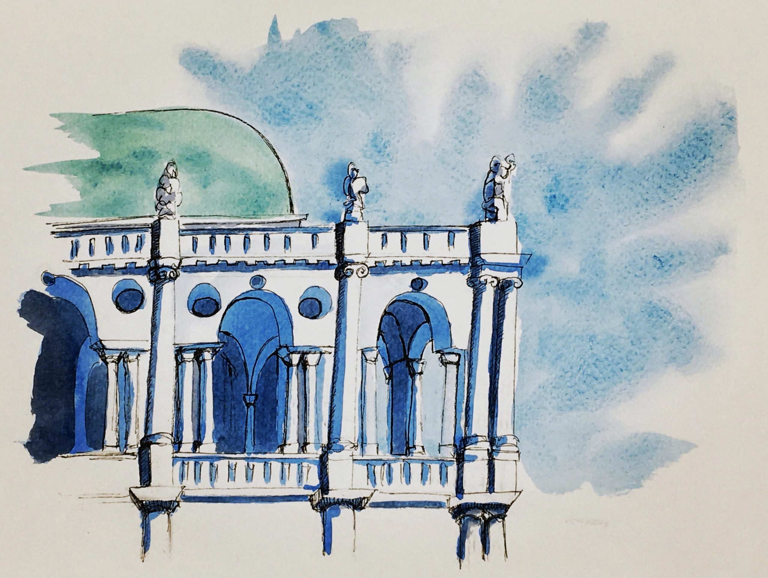 Painting of the Loggia of the Basilica Palladiana in Vicenza