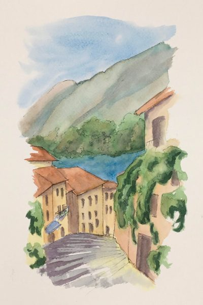 Painting Salita Serbelloni in Bellagio on Lake Como'