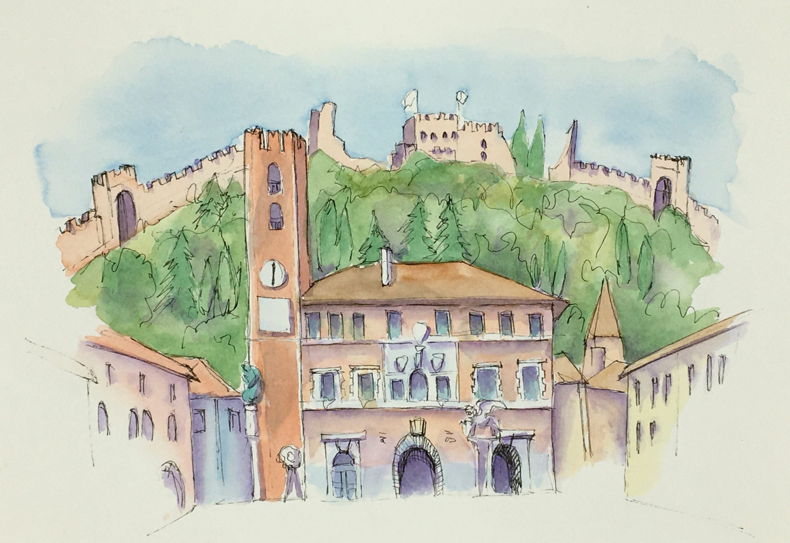 Painting of The Chess Square of Marostica
