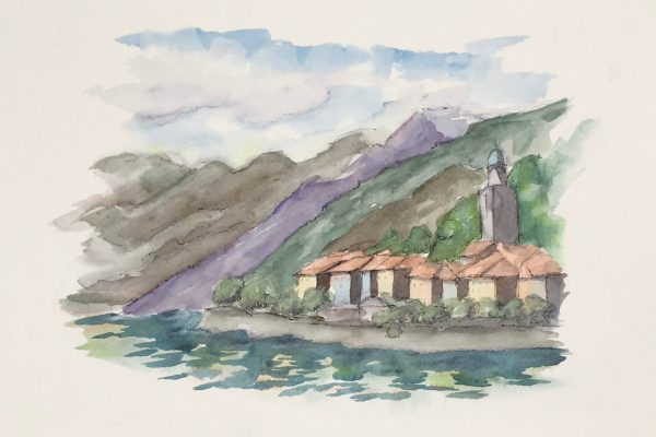 Painting of a View of the Como Lake in Bellagio