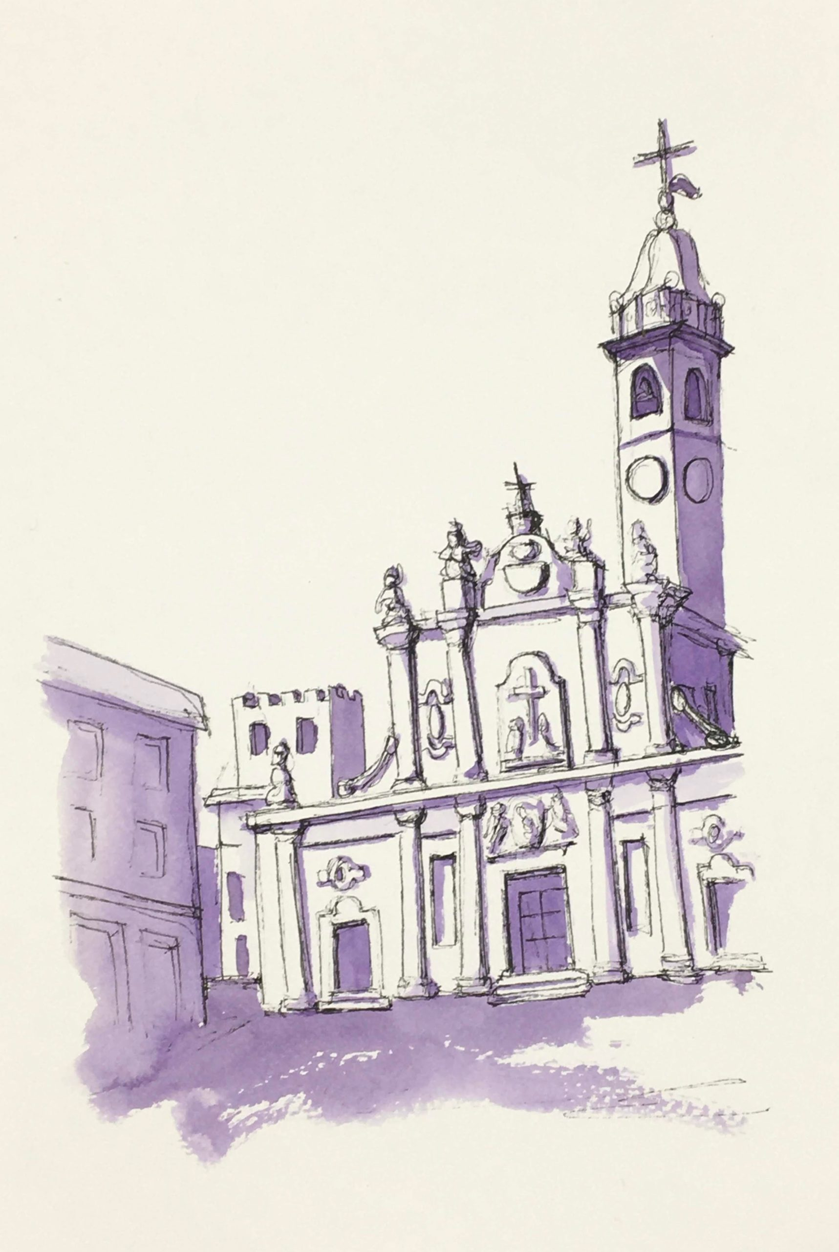 Painting of Church of Sant'Ambrogio in Cinisello Balsamo