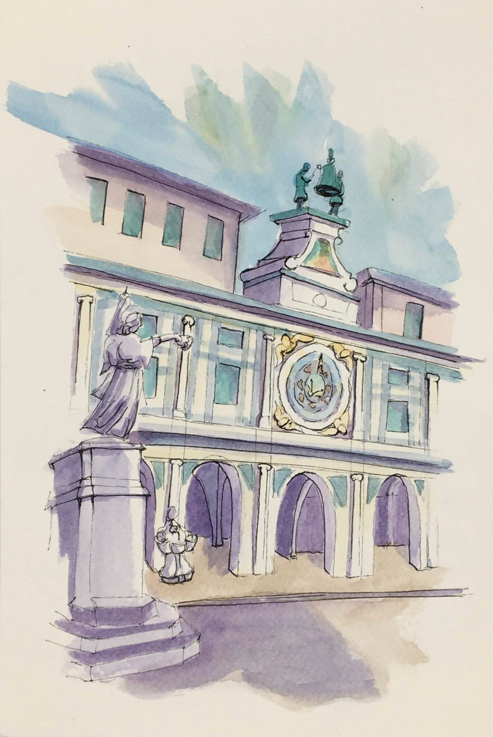 Painting the Arcade and the Clock Tower in Brescia