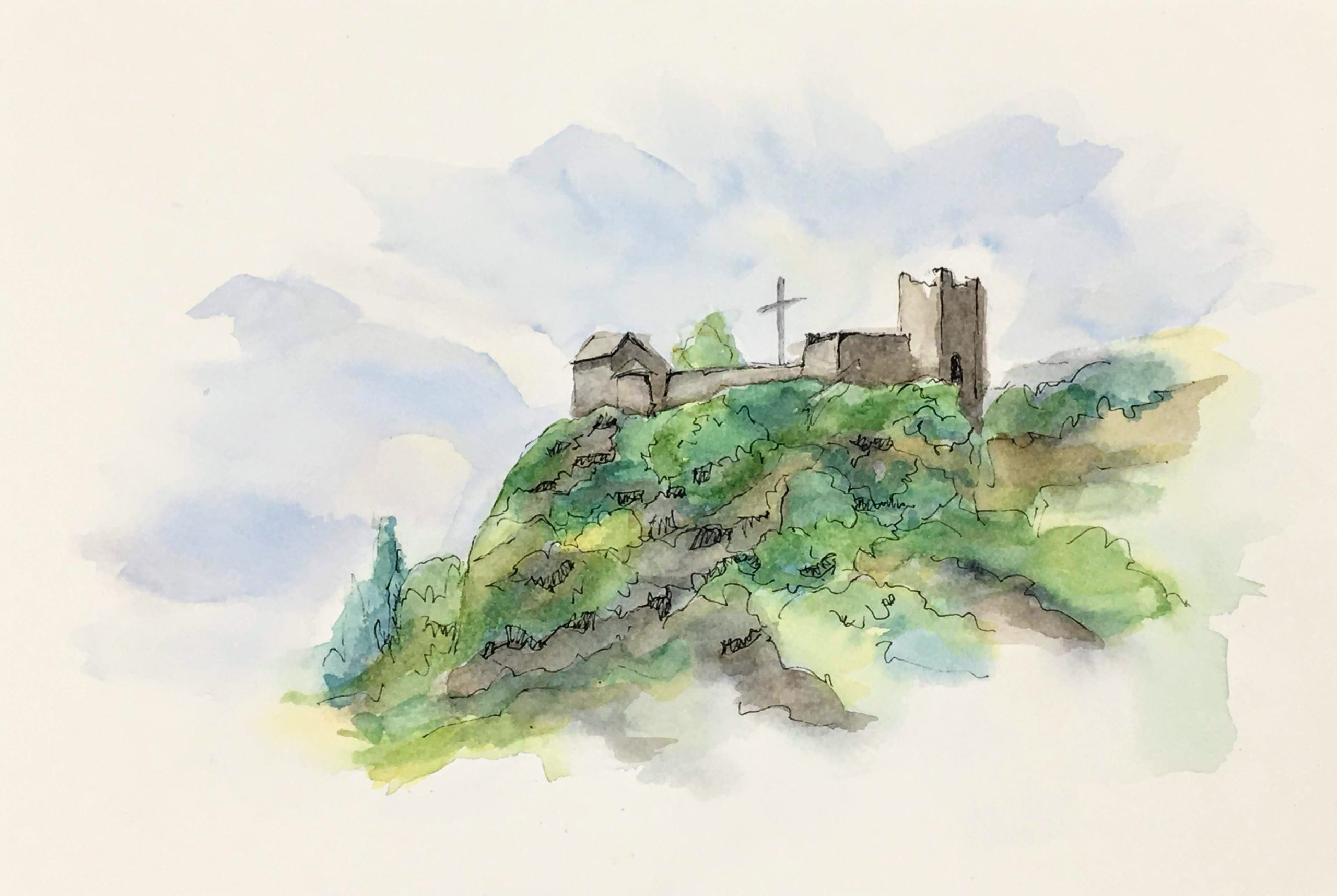 Painting of The Castle of the Innominato near Bergamo