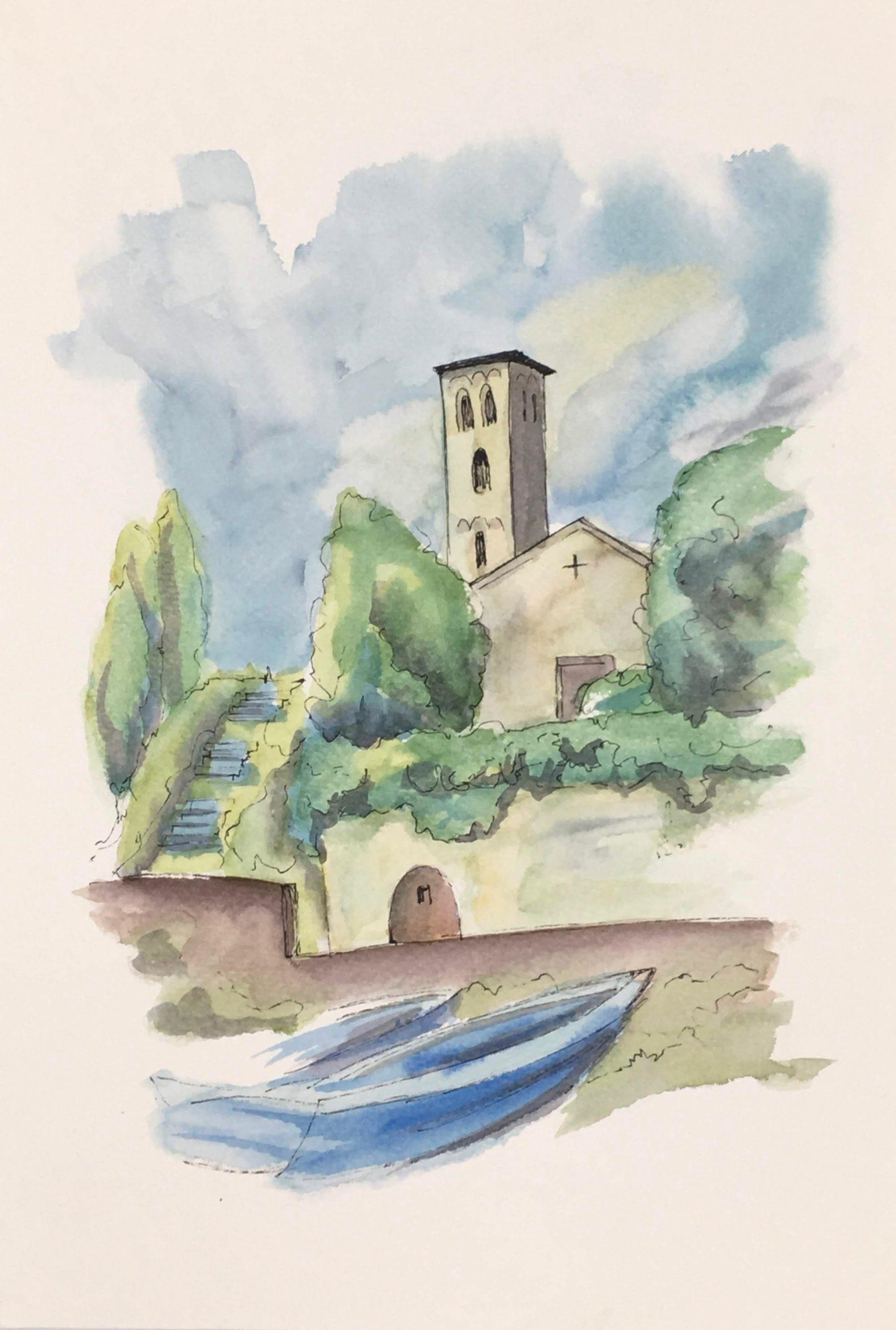 Painting of Church of Saint Maria La Loppia in Bellagio