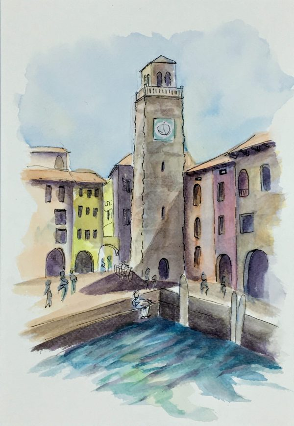 Painting of The Torre Apponale in Riviera del Garda