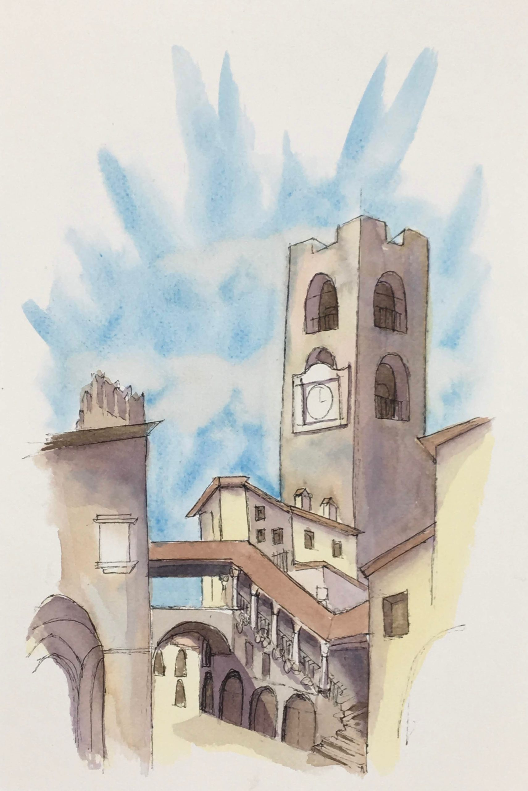 Painting of the The Old Square of Bergamo