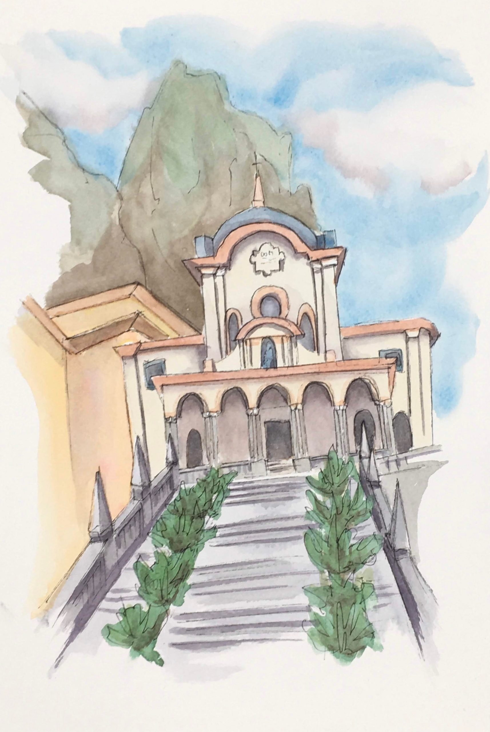 Painting of the Basilica of Saint Girolamo near Lecco