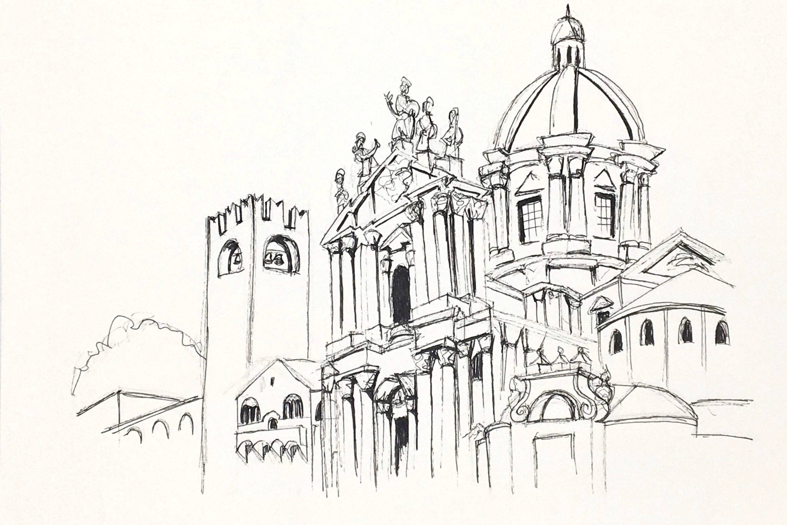 Painting Of The two cathedrals of Piazza Paolo VI in Brescia