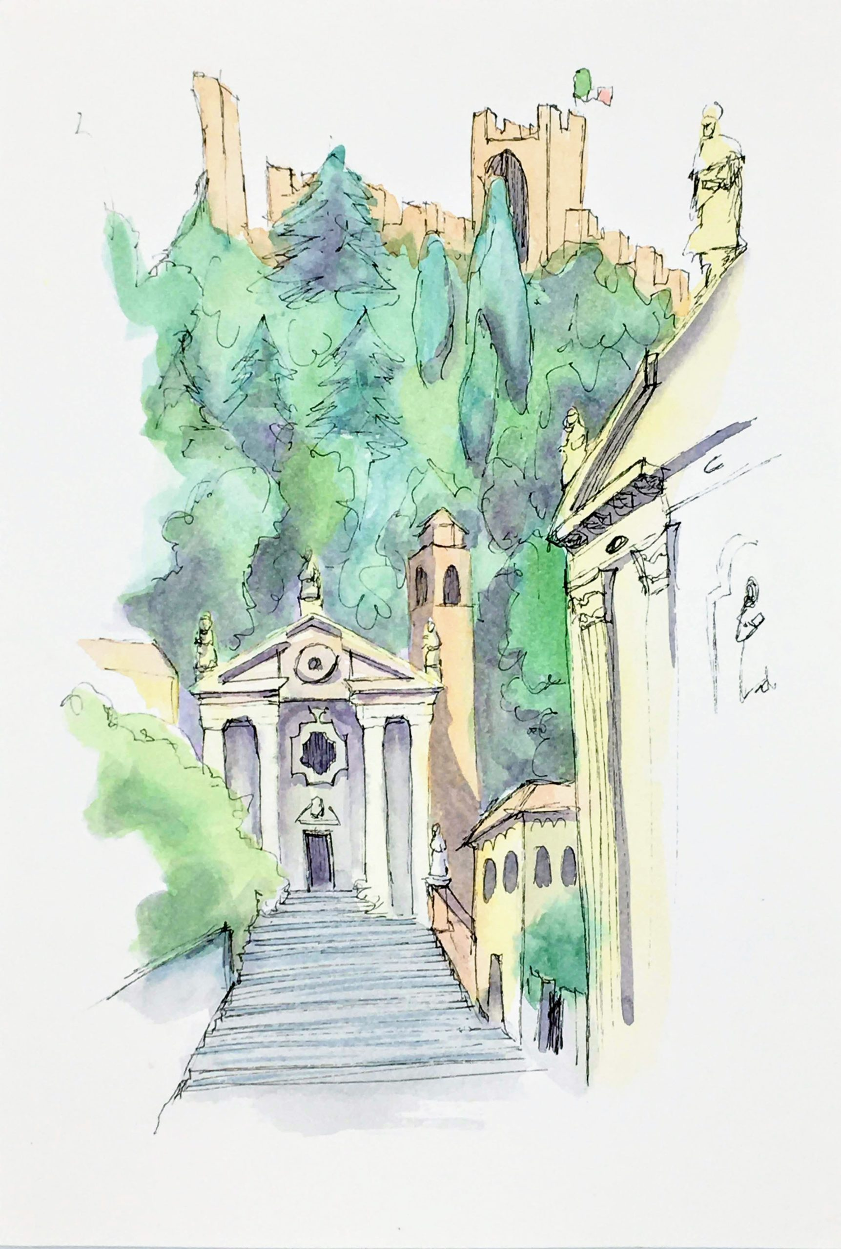 Painting of the View of the old churches in Marostica