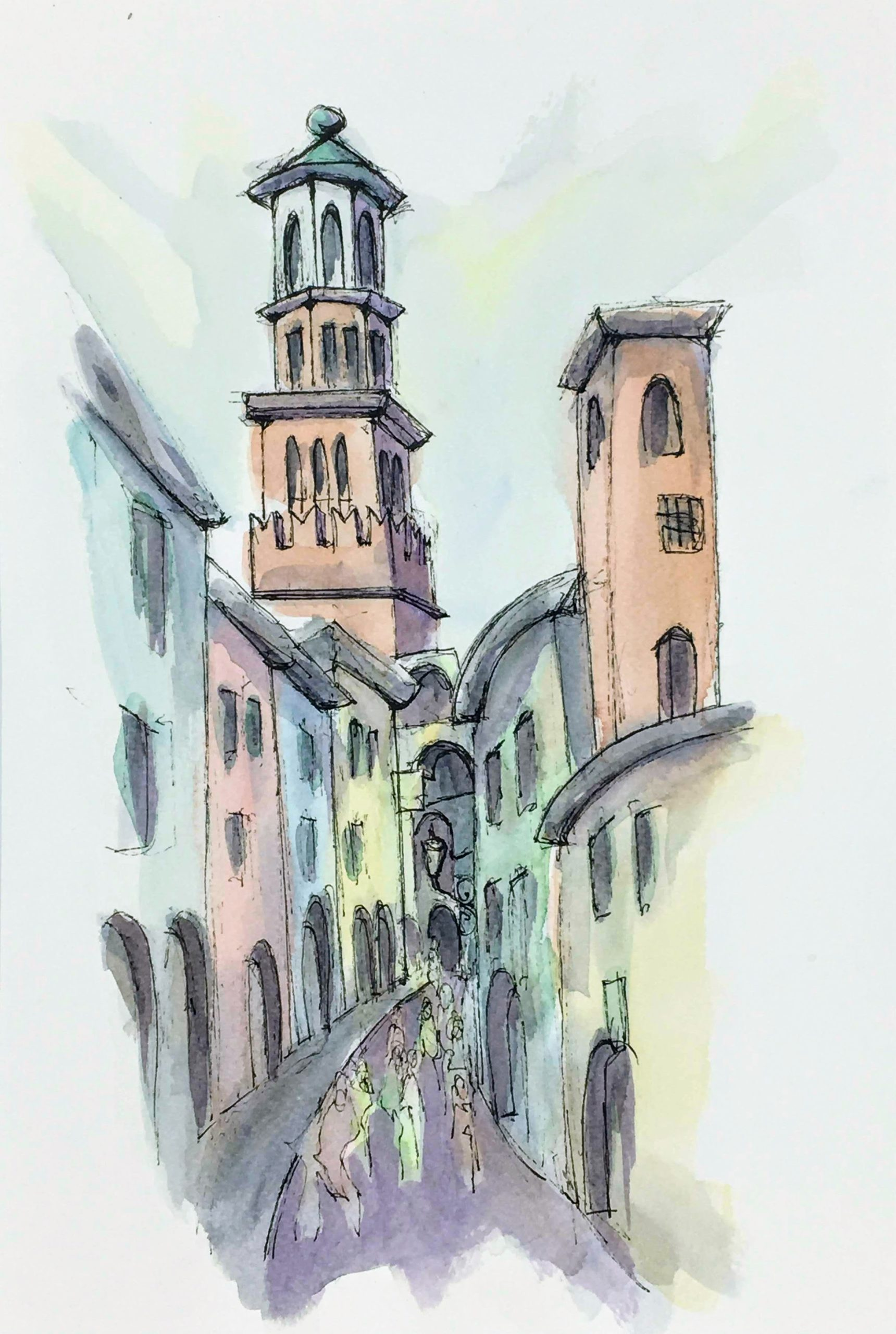Painting of a view on the side streets of Verona
