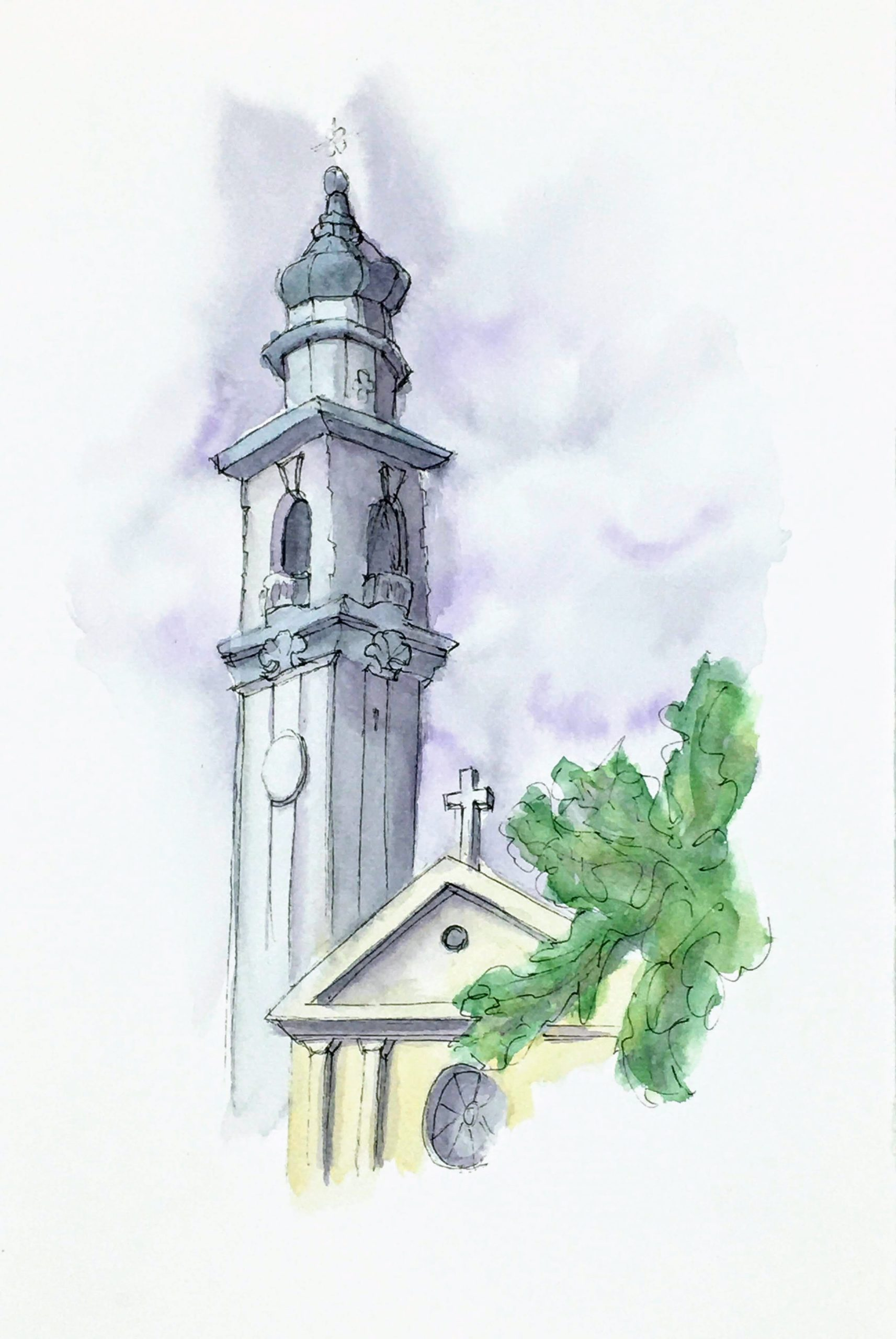 Painting of the The Bell Tower of the Church of Parrocchia