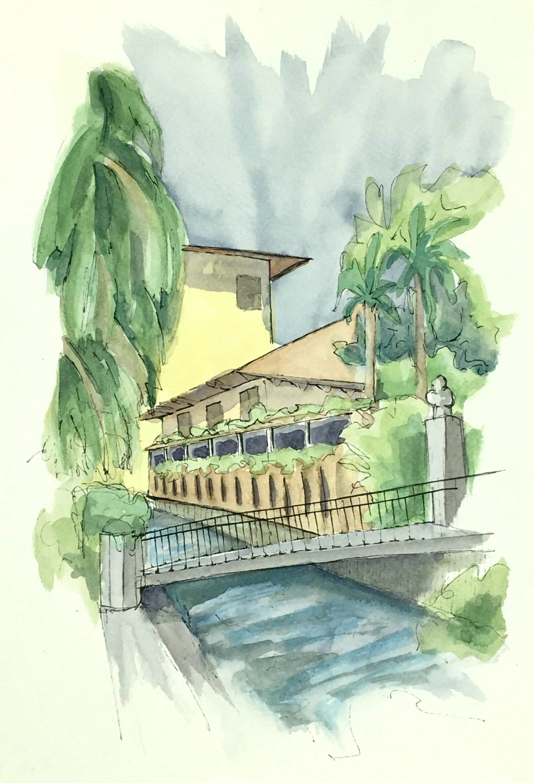 Painting of La Ghiacciaia in the center of Udine