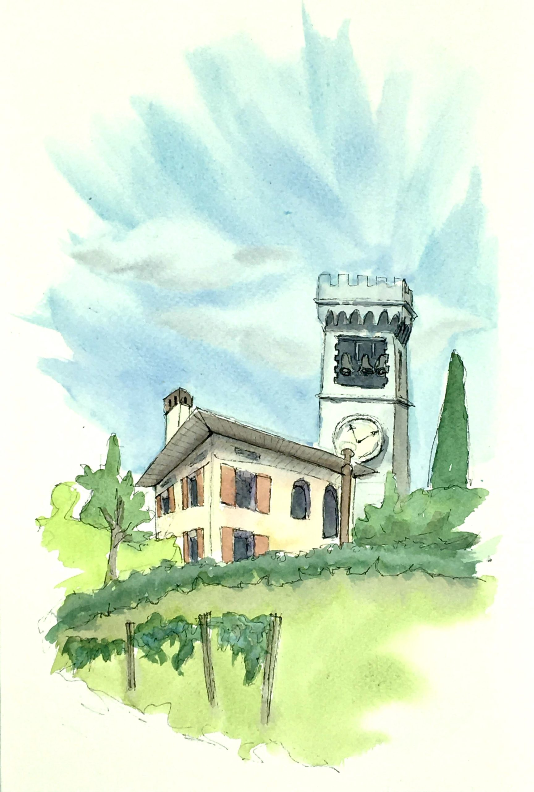 Painting of the Castle on the hills in Fagagna