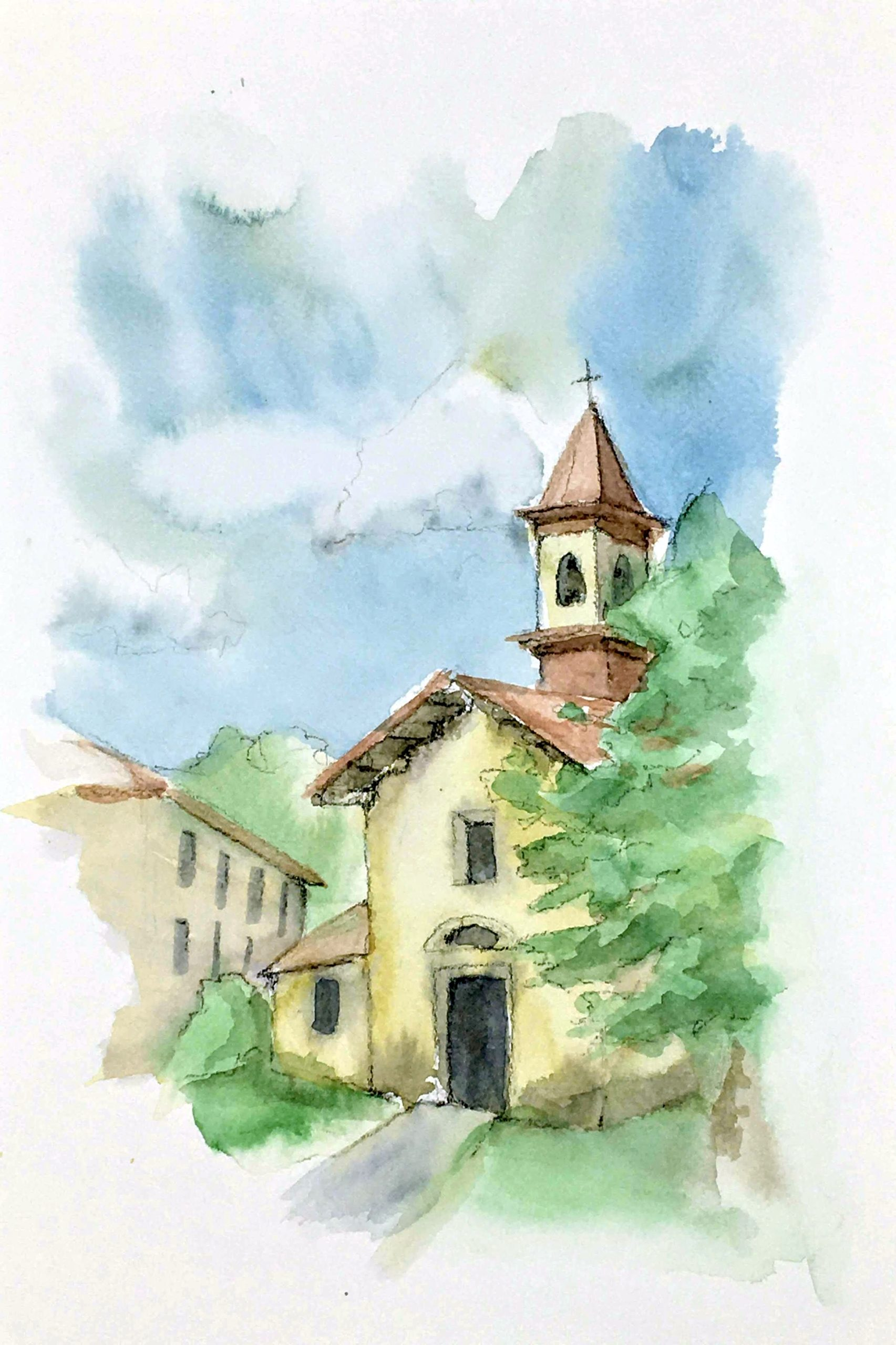 Painting of the Church of Sant'Eusebio in Cinisello