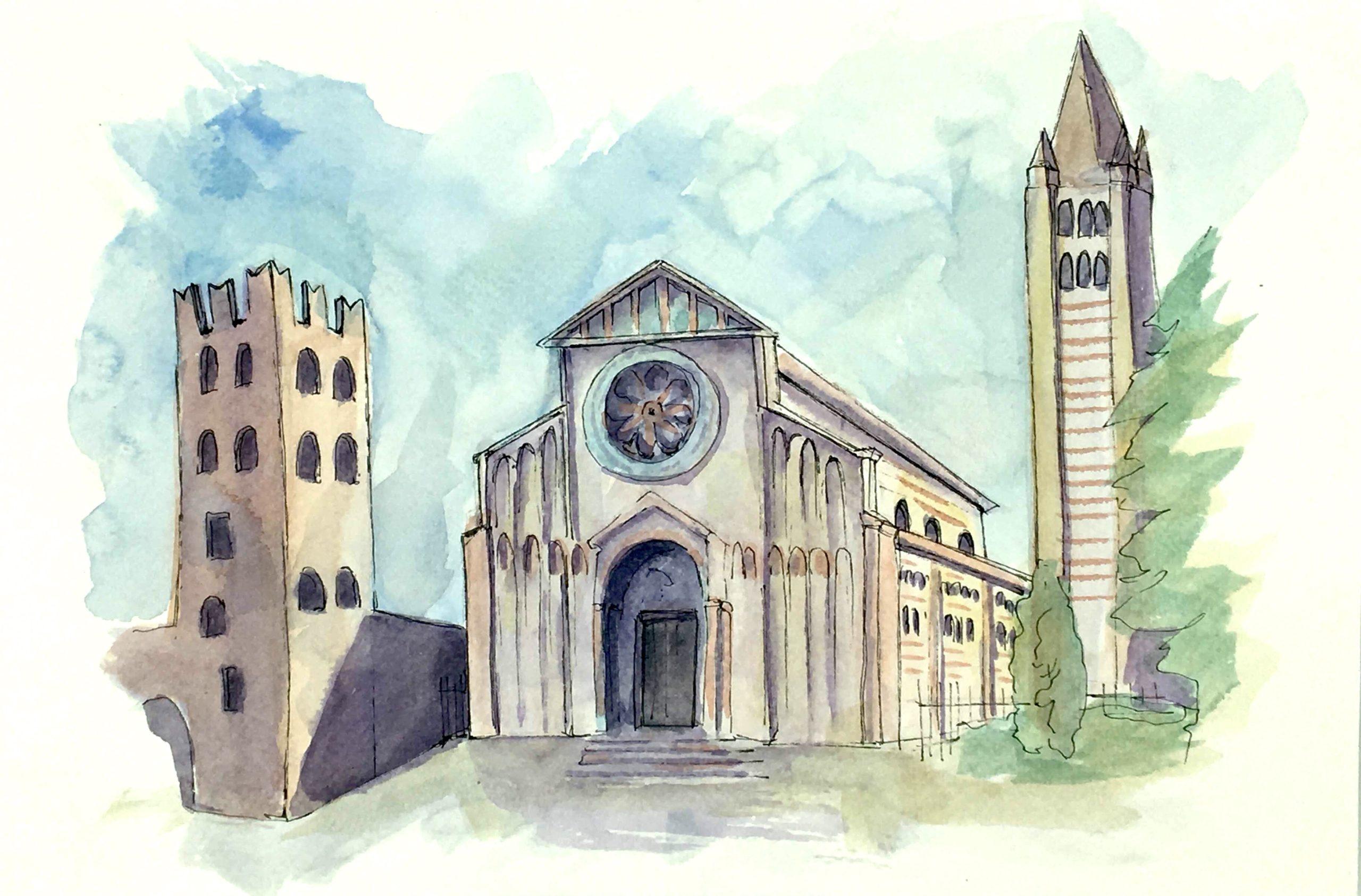 Painting of the Basilica of San Zeno in Verona