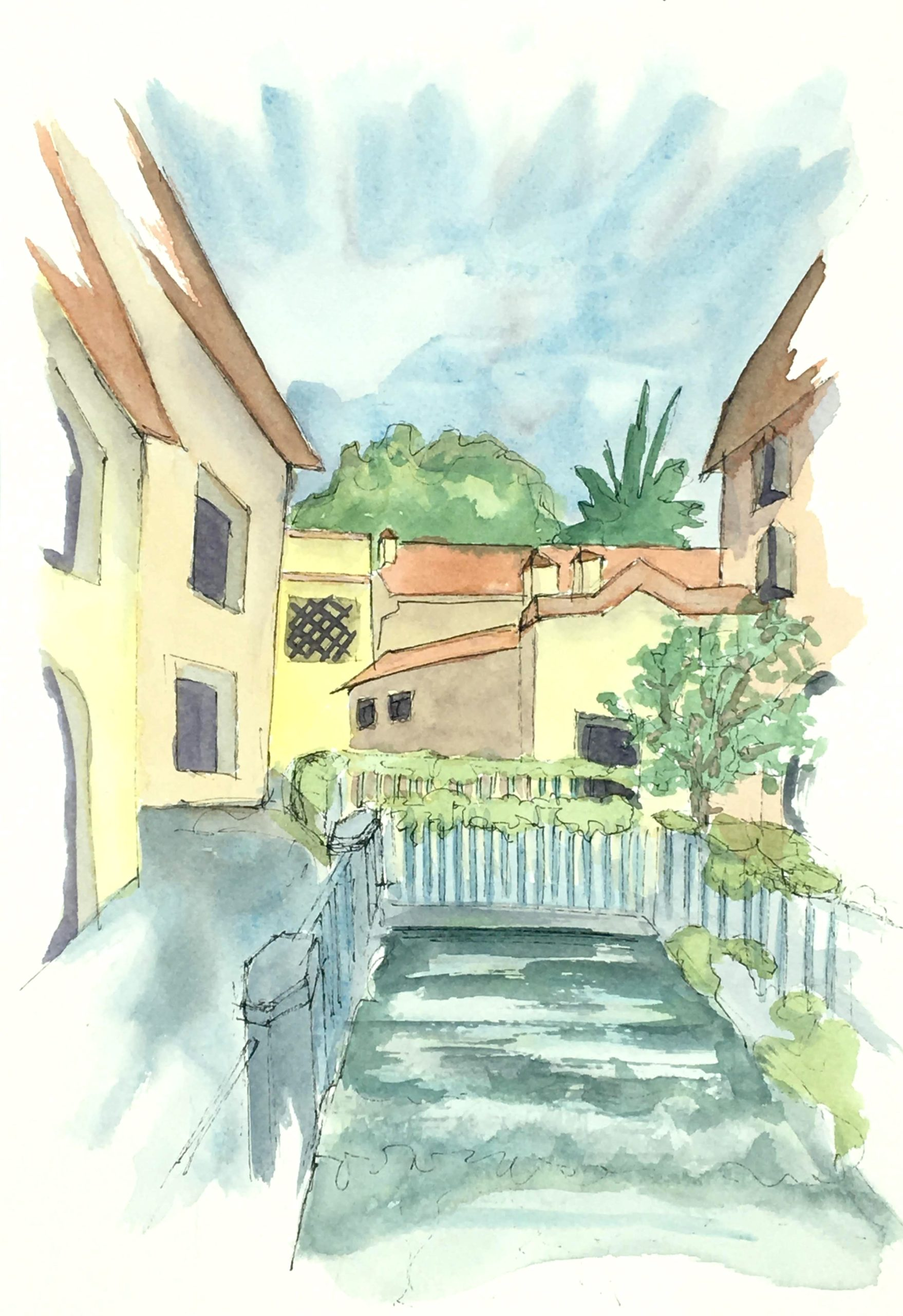 Painting of The hidden rivers in Udine